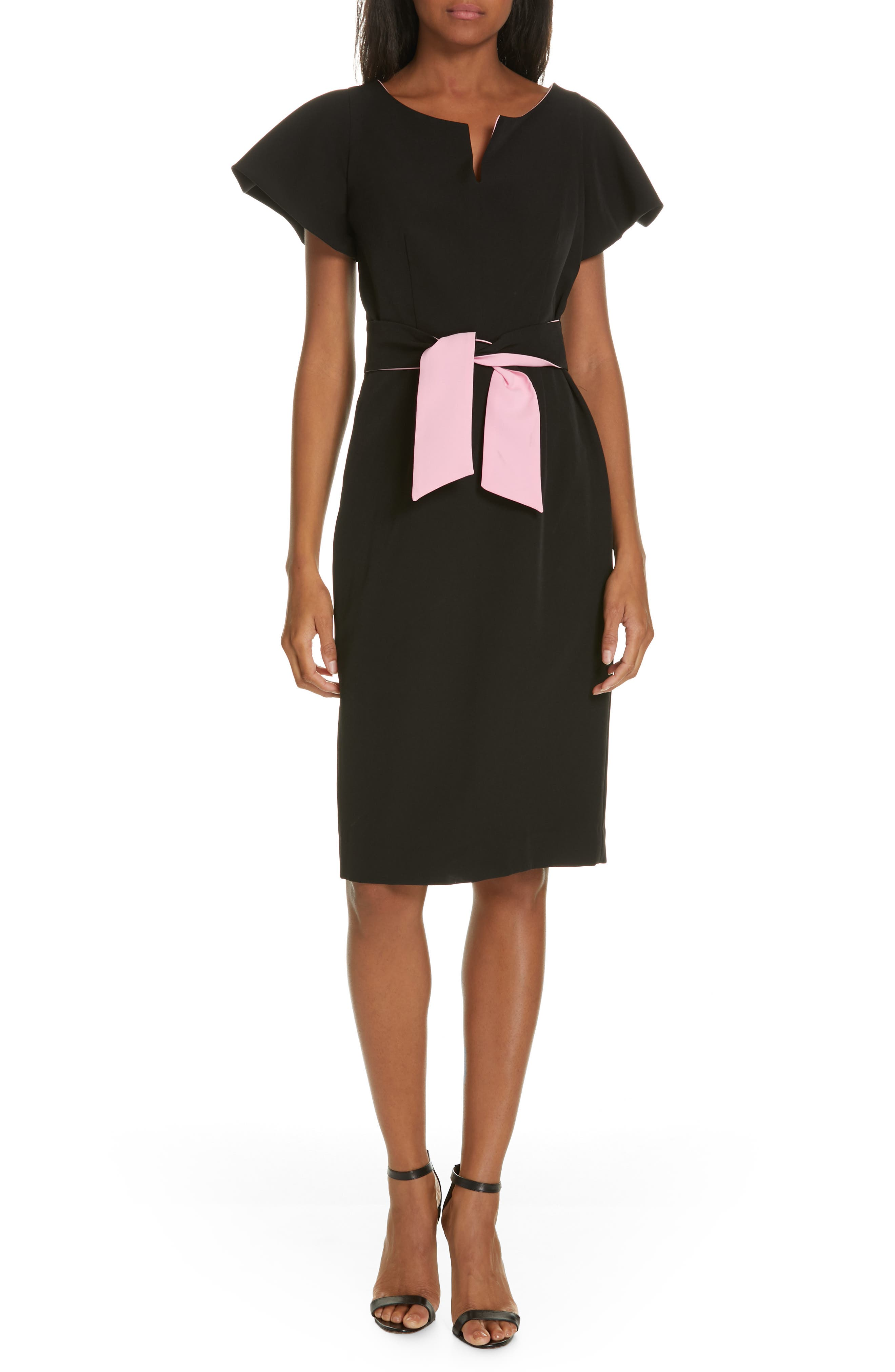 Milly Tina Italian Cady Belted Dress, Black
