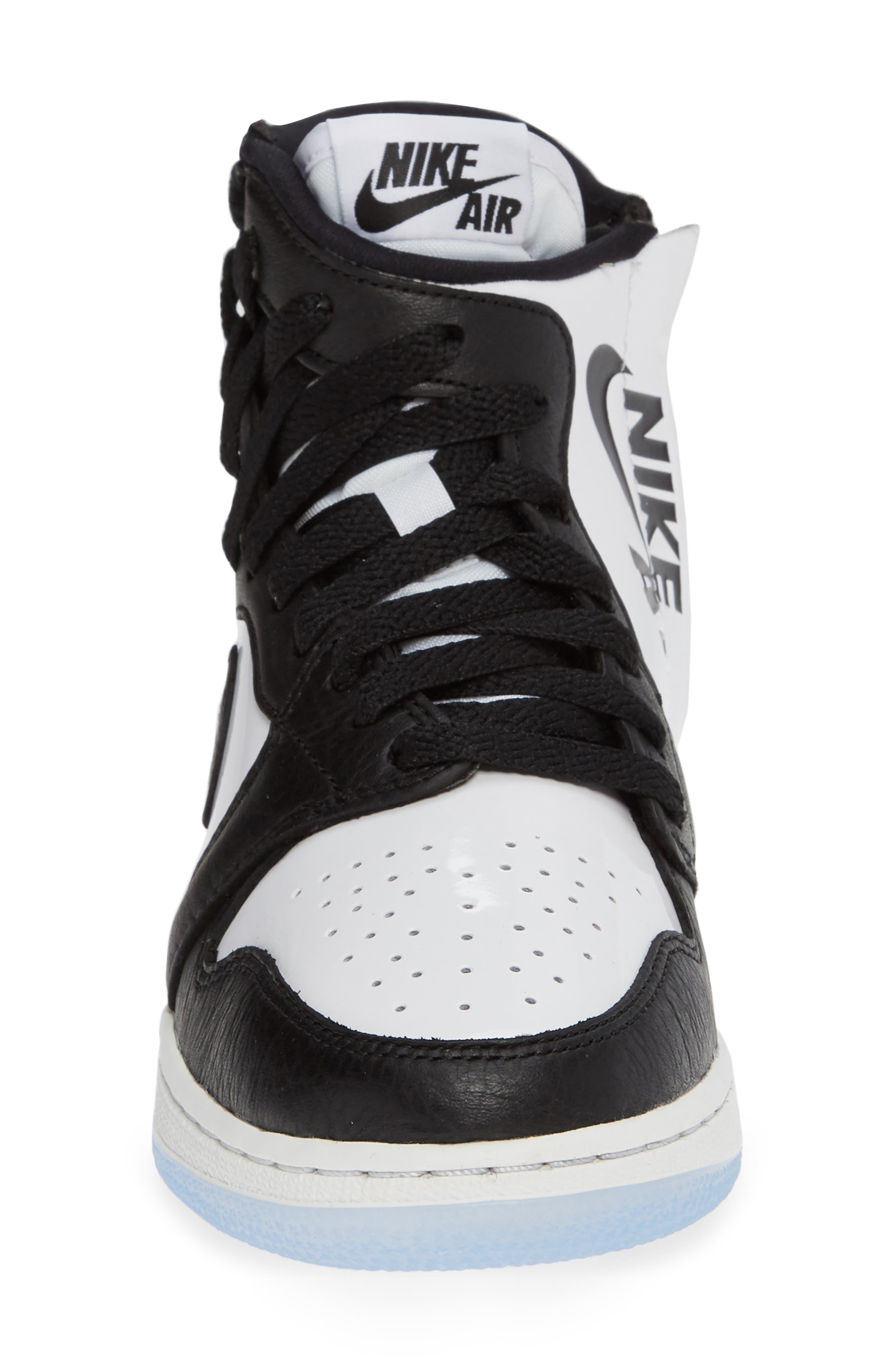 NIKE, Air Jordan 1 Rebel XX High Top Sneaker, Alternate thumbnail 4, color, BLACK/ BLACK