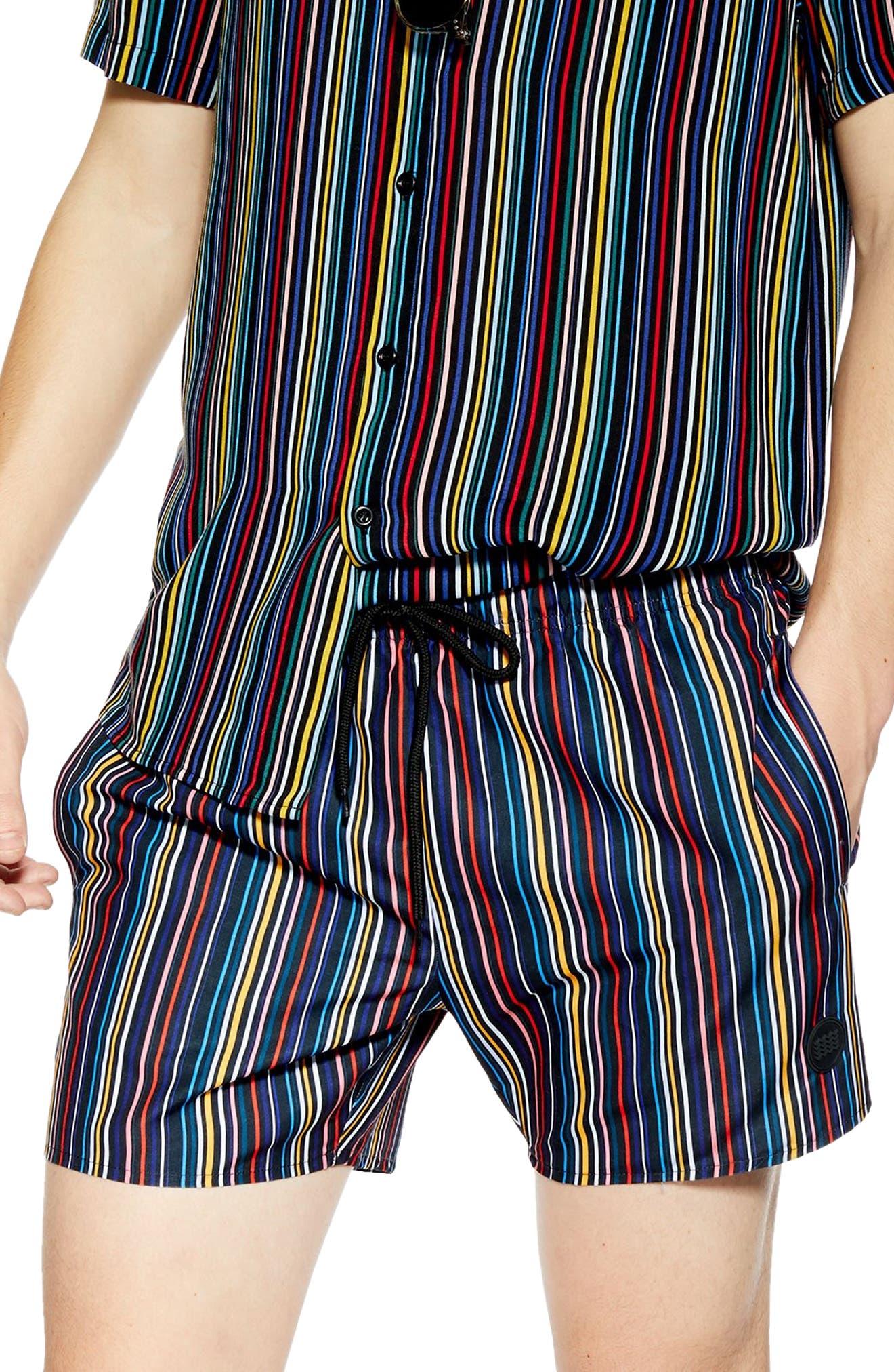 TOPMAN, Pinstripe Swim Shorts, Main thumbnail 1, color, BLACK MULTI