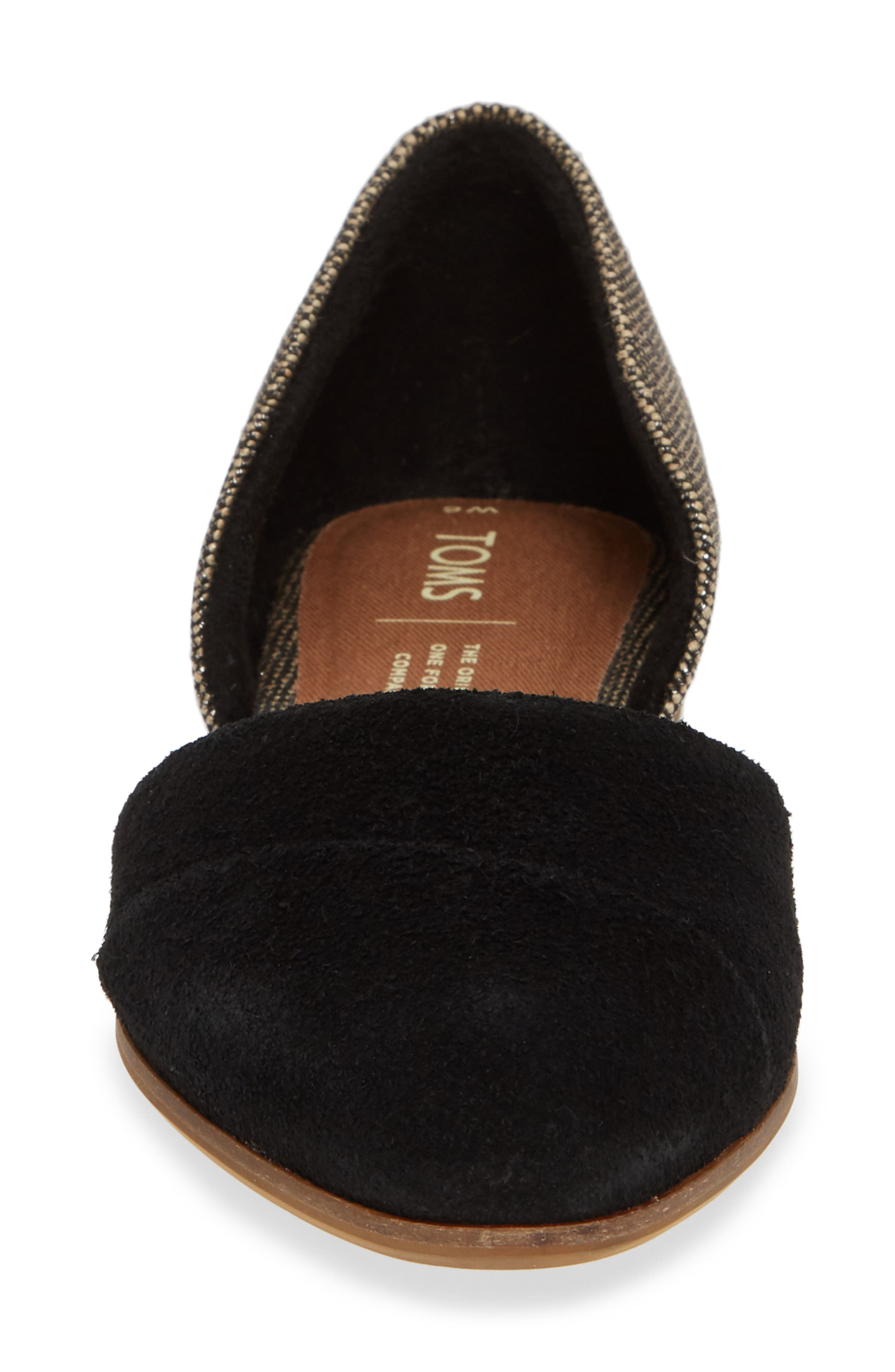 TOMS, Jutti d'Orsay Flat, Alternate thumbnail 4, color, BLACK SUEDE/ METALLIC WOVEN