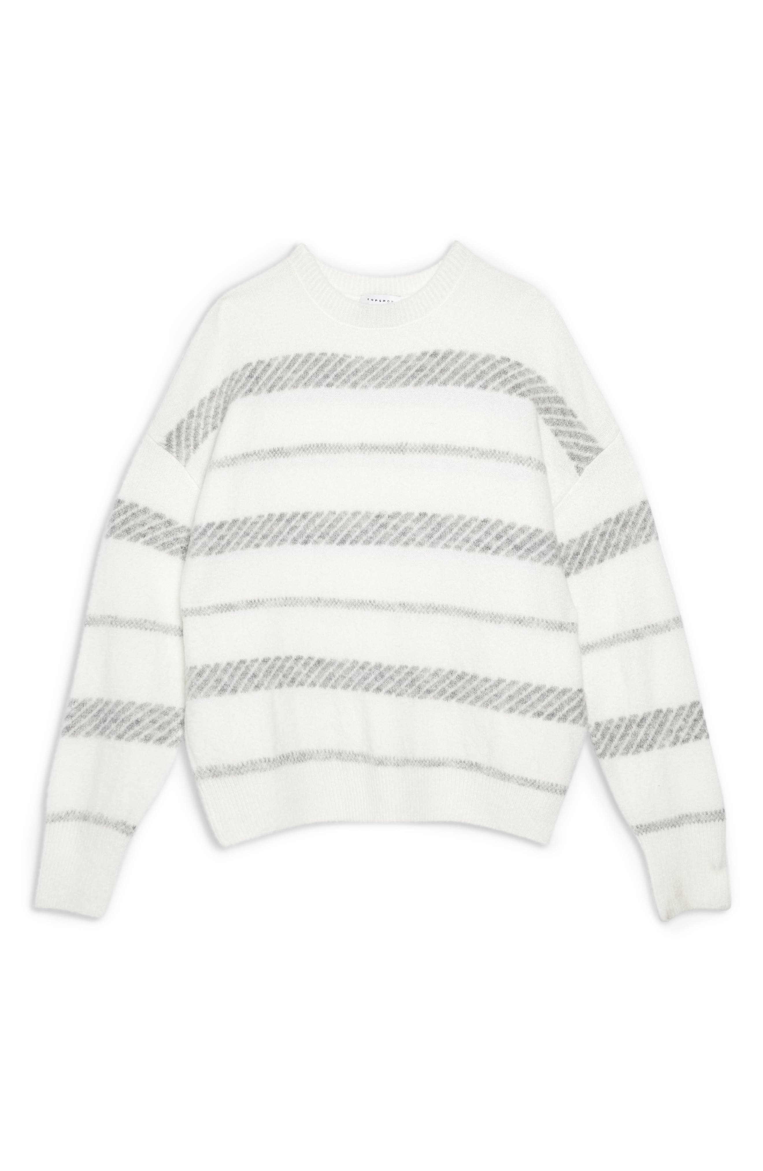 TOPSHOP, Supersoft Stripe Sweater, Alternate thumbnail 3, color, 900