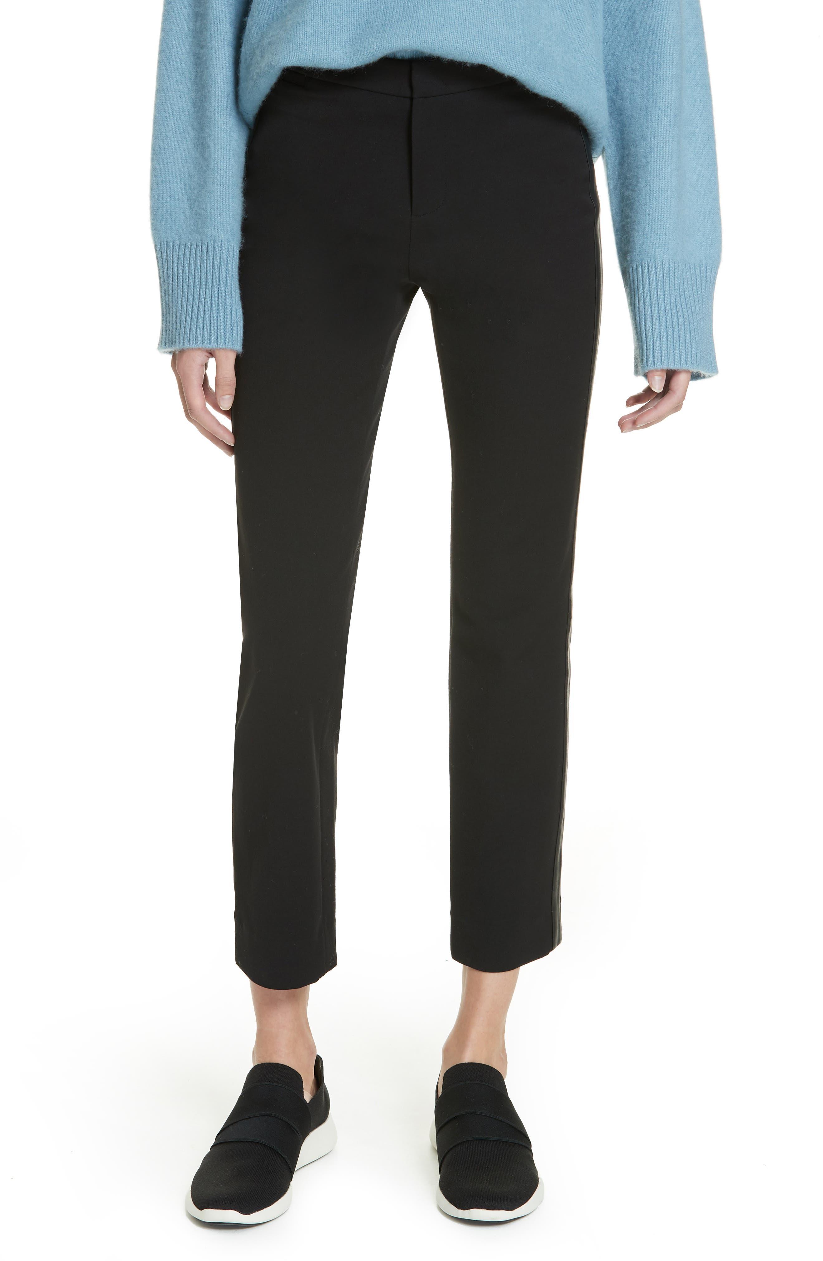 VINCE, Faux Leather Side Stripe Trousers, Main thumbnail 1, color, BLACK