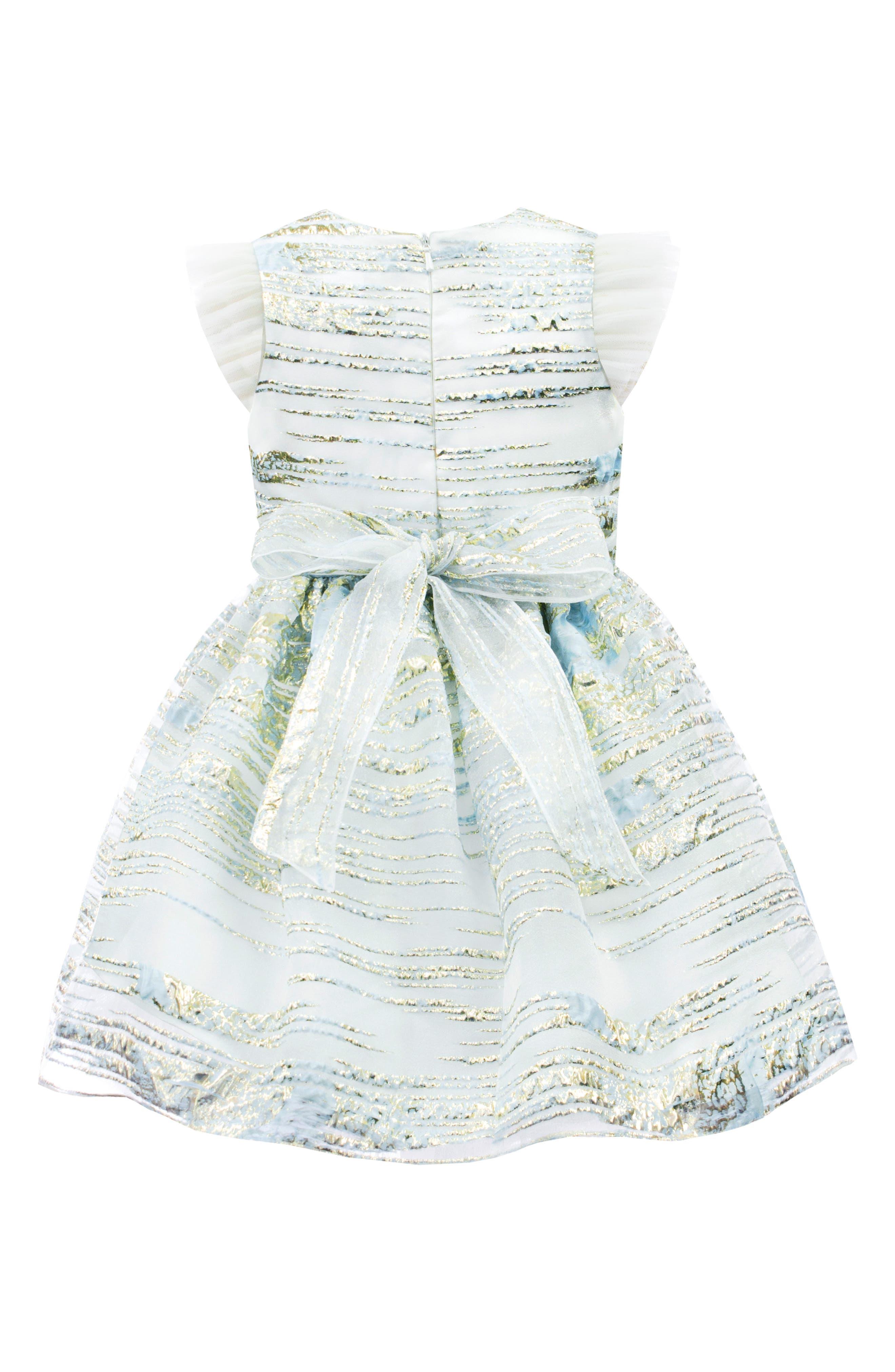 DAVID CHARLES, Metallic Stripe Organza Party Dress, Alternate thumbnail 2, color, BLUE