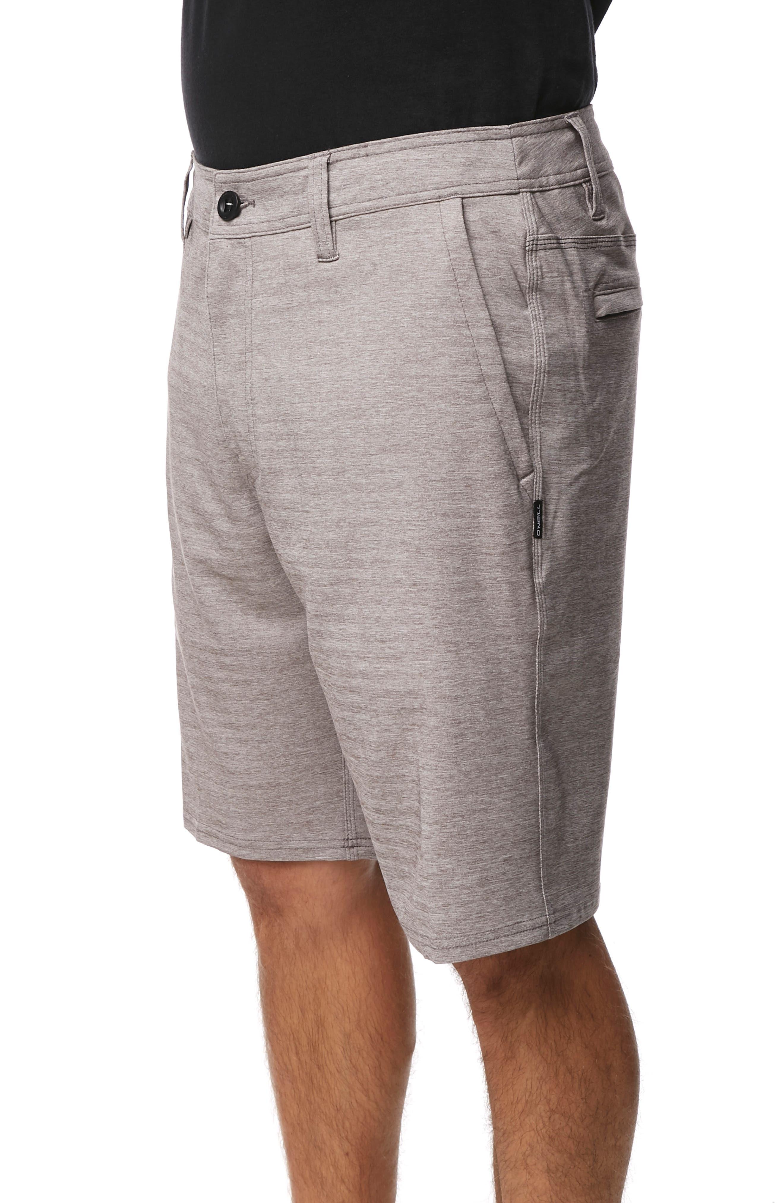 O'NEILL, Locked Herringbone Hybrid Shorts, Alternate thumbnail 3, color, GUN METAL