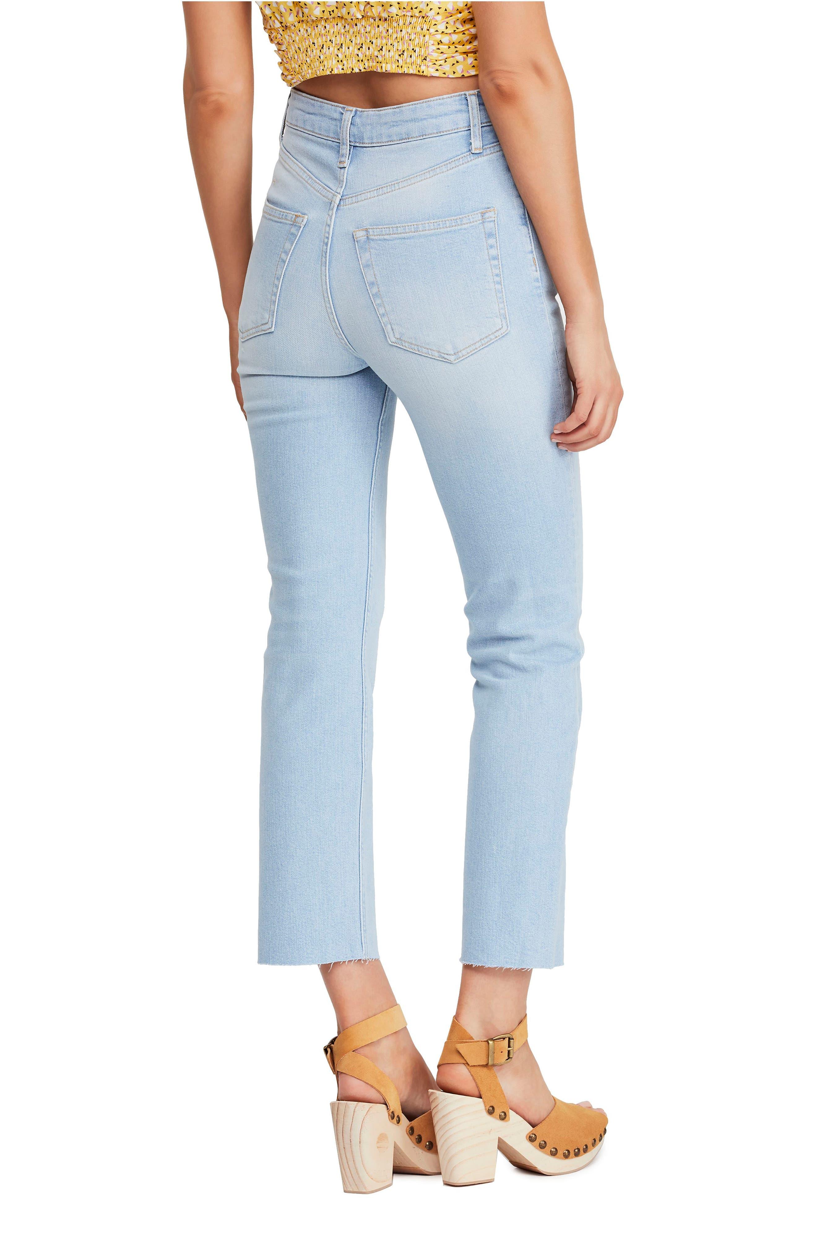 FREE PEOPLE High Waist Slim Straight Leg Jeans, Alternate, color, LIGHT DENIM