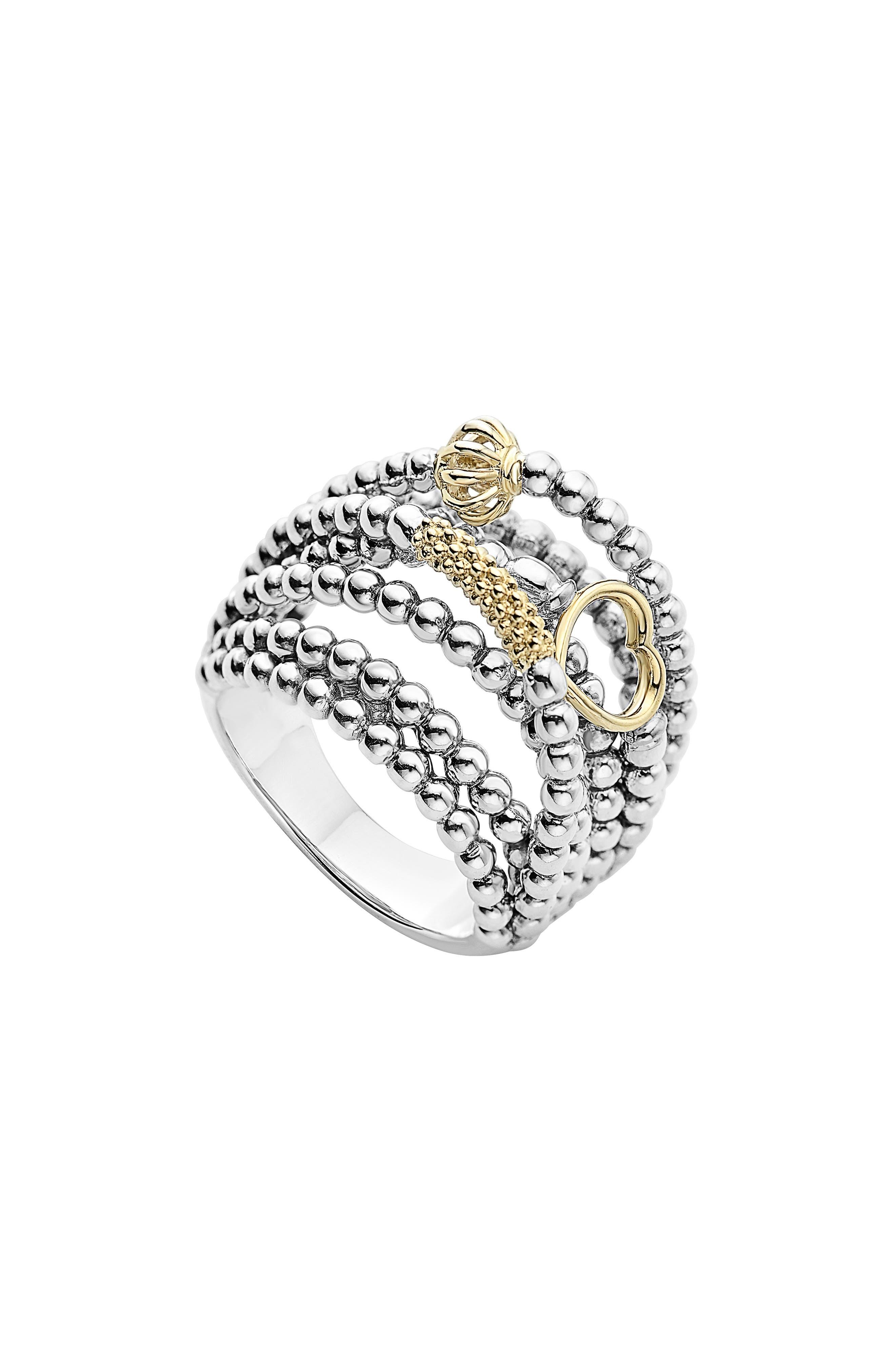 LAGOS, 'Caviar Icon' Multi-Row Dome Ring, Main thumbnail 1, color, SILVER/ GOLD