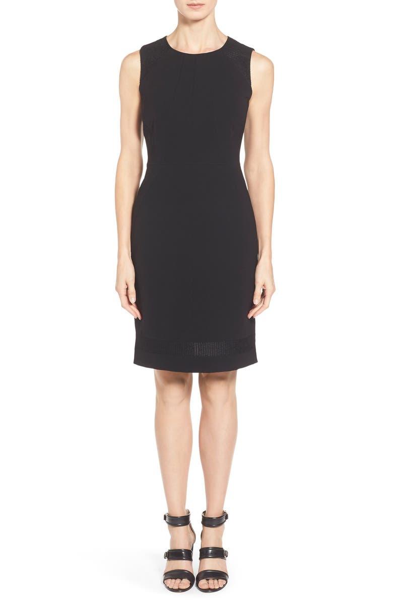 8d8fe56f LAFAYETTE 148 NEW YORK 'Pearla' Knit Inset Tech Cloth Sheath Dress, Main,