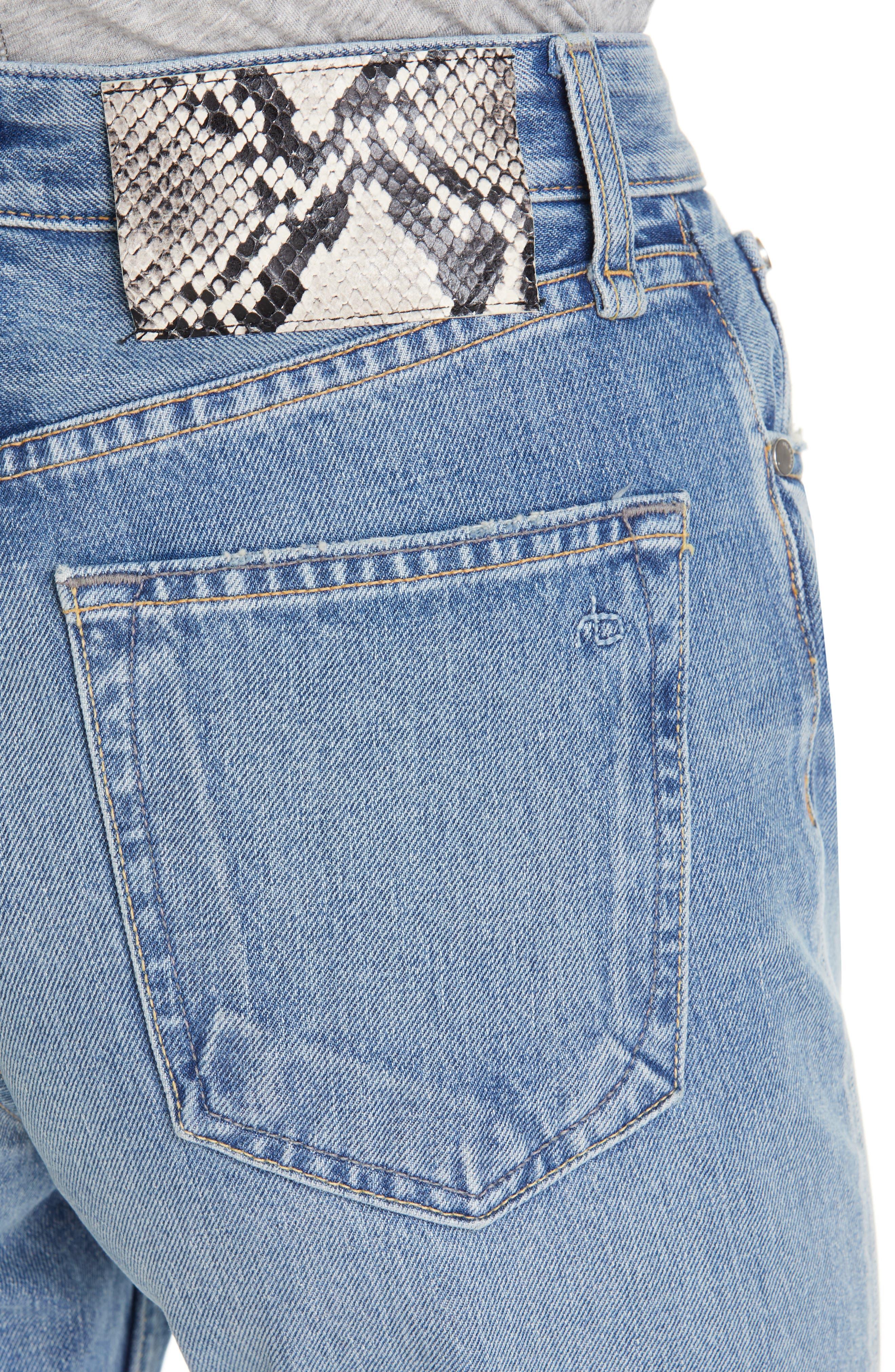 RAG & BONE, Ruth Super High Waist Straight Leg Jeans, Alternate thumbnail 4, color, BABY
