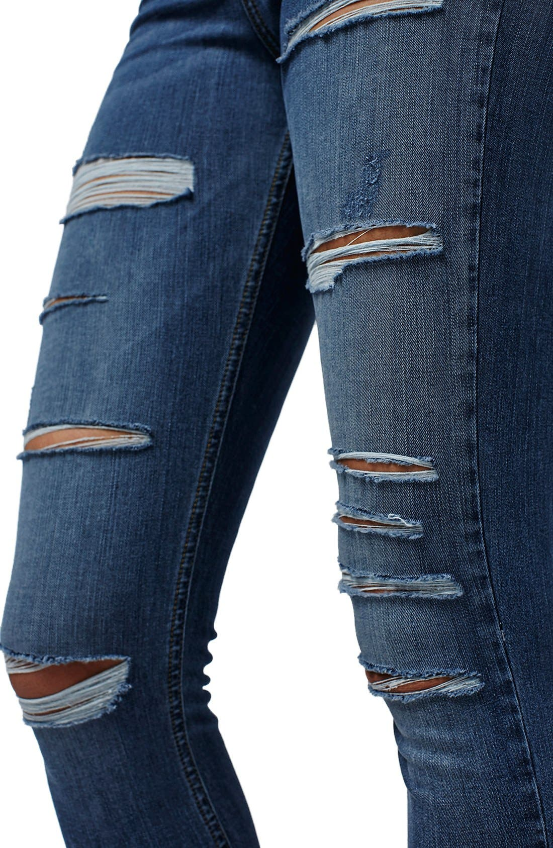 TOPSHOP, Jamie Ripped High Rise Skinny Jeans, Main thumbnail 1, color, 400