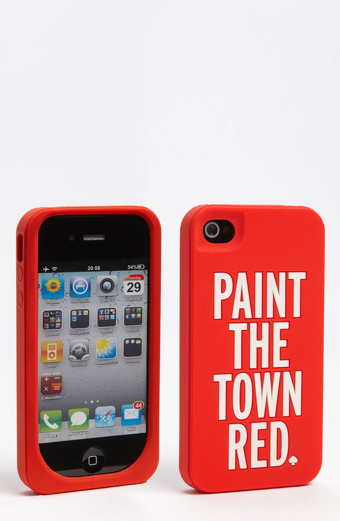 KATE SPADE NEW YORK, 'paint the town red' iPhone 4 & 4S case, Main thumbnail 1, color, 619