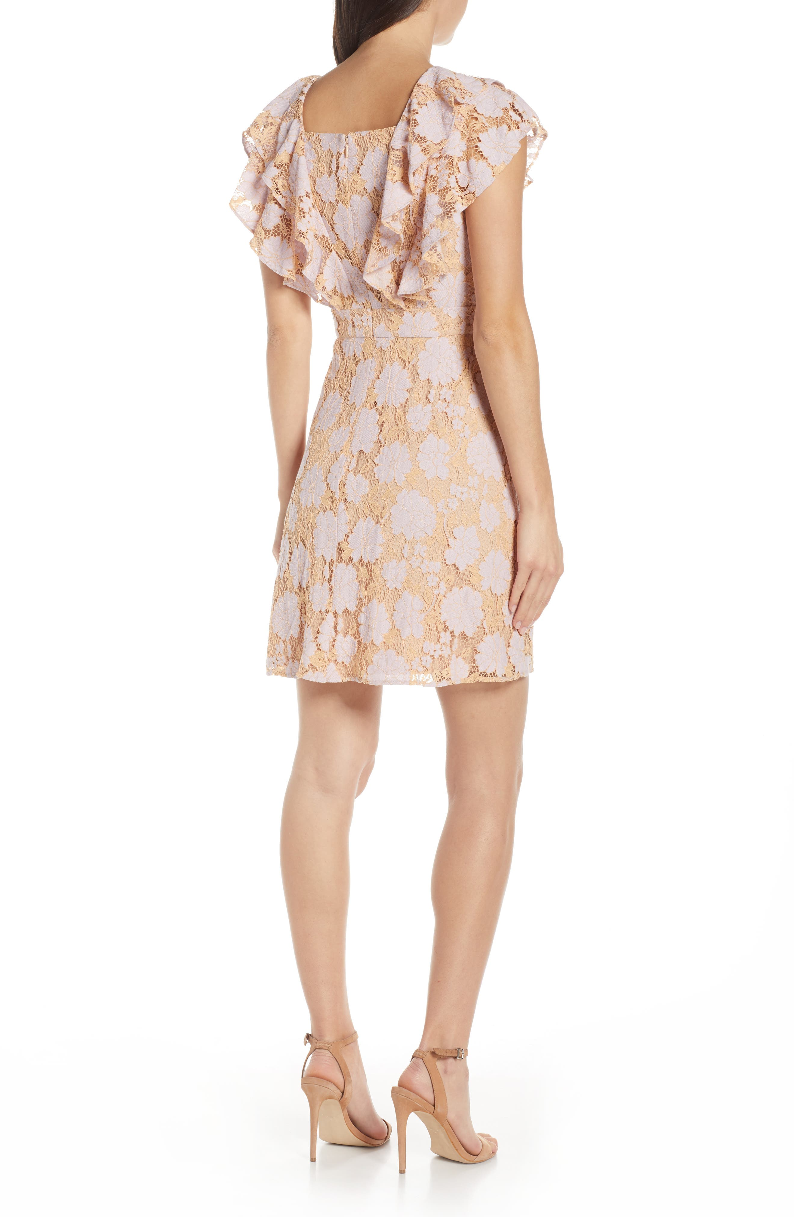 CHARLES HENRY, Ruffle Lace Minidress, Alternate thumbnail 2, color, LILAC-PINK LACE