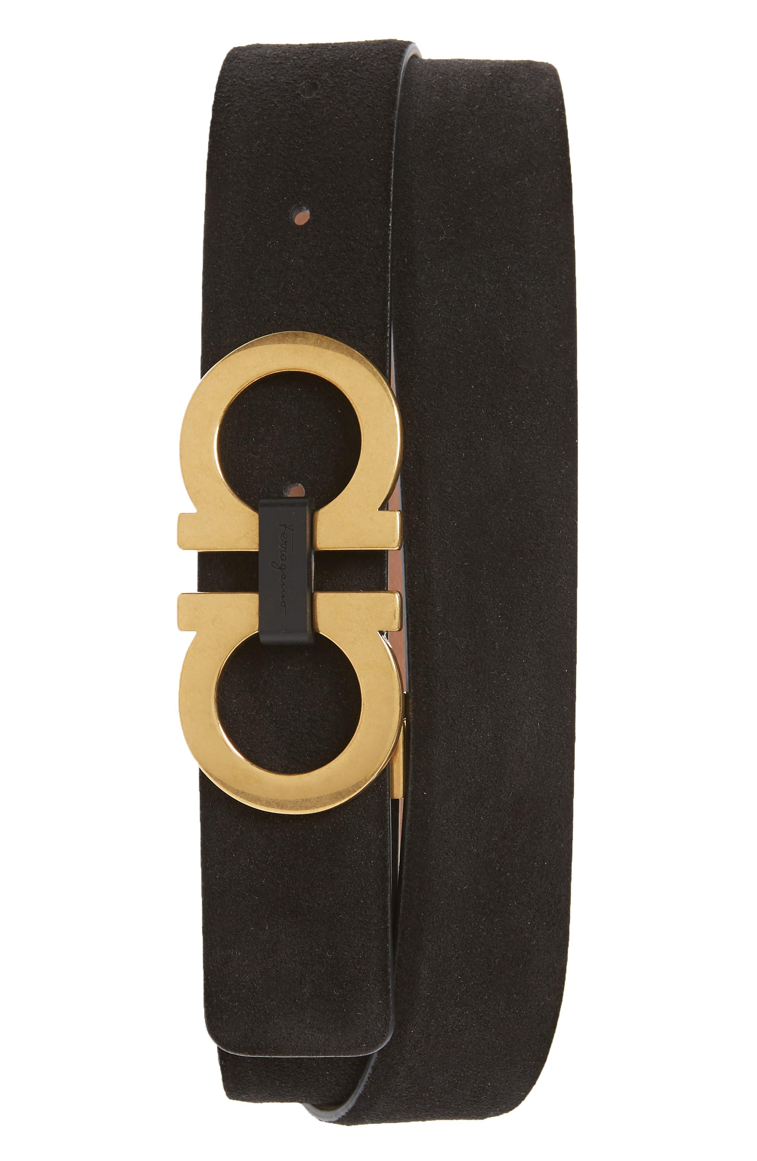 SALVATORE FERRAGAMO, Suede Leather Belt, Main thumbnail 1, color, NERO