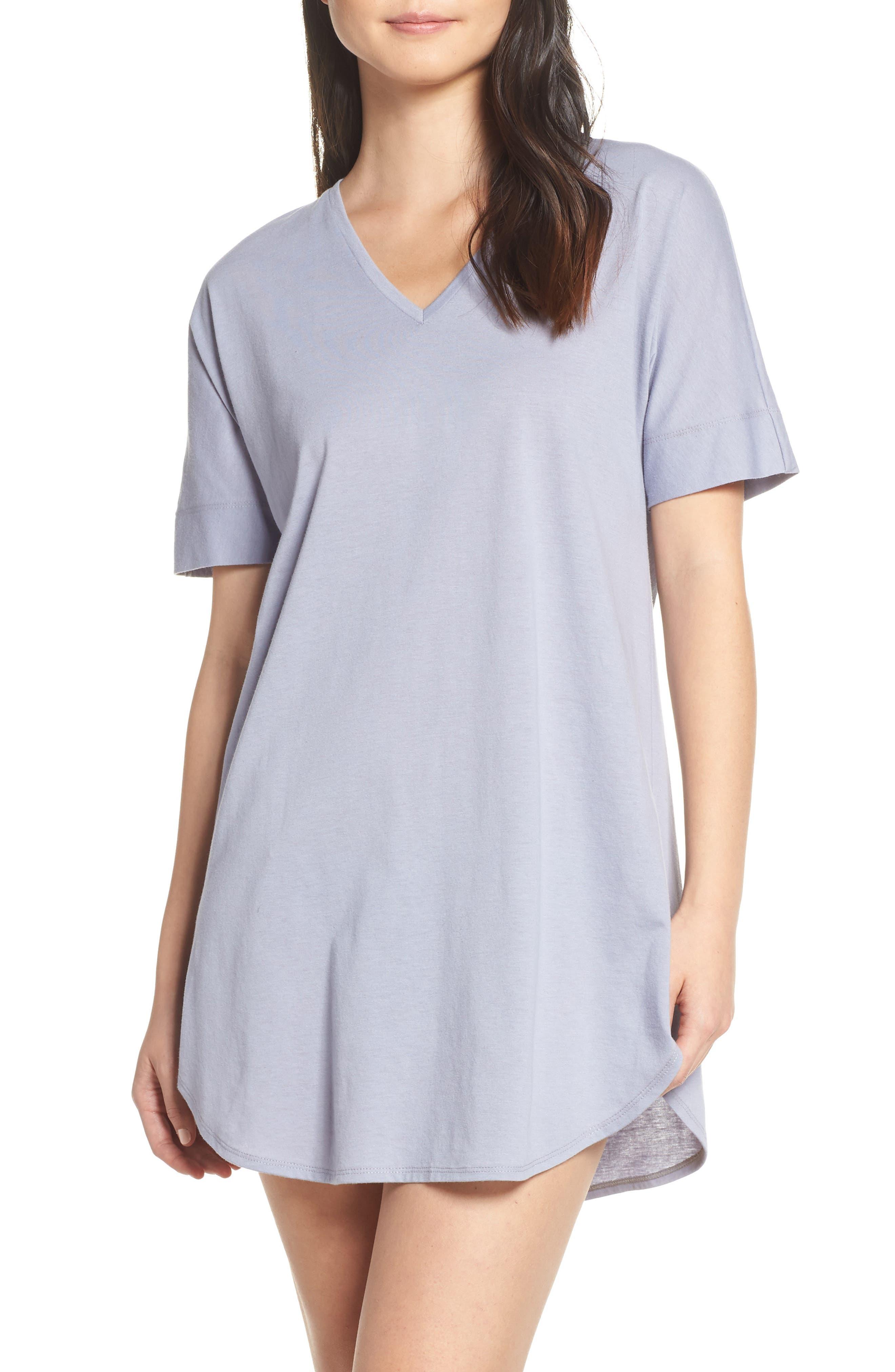 NATORI, V-Neck Sleep Shirt, Main thumbnail 1, color, SLATE BLUE