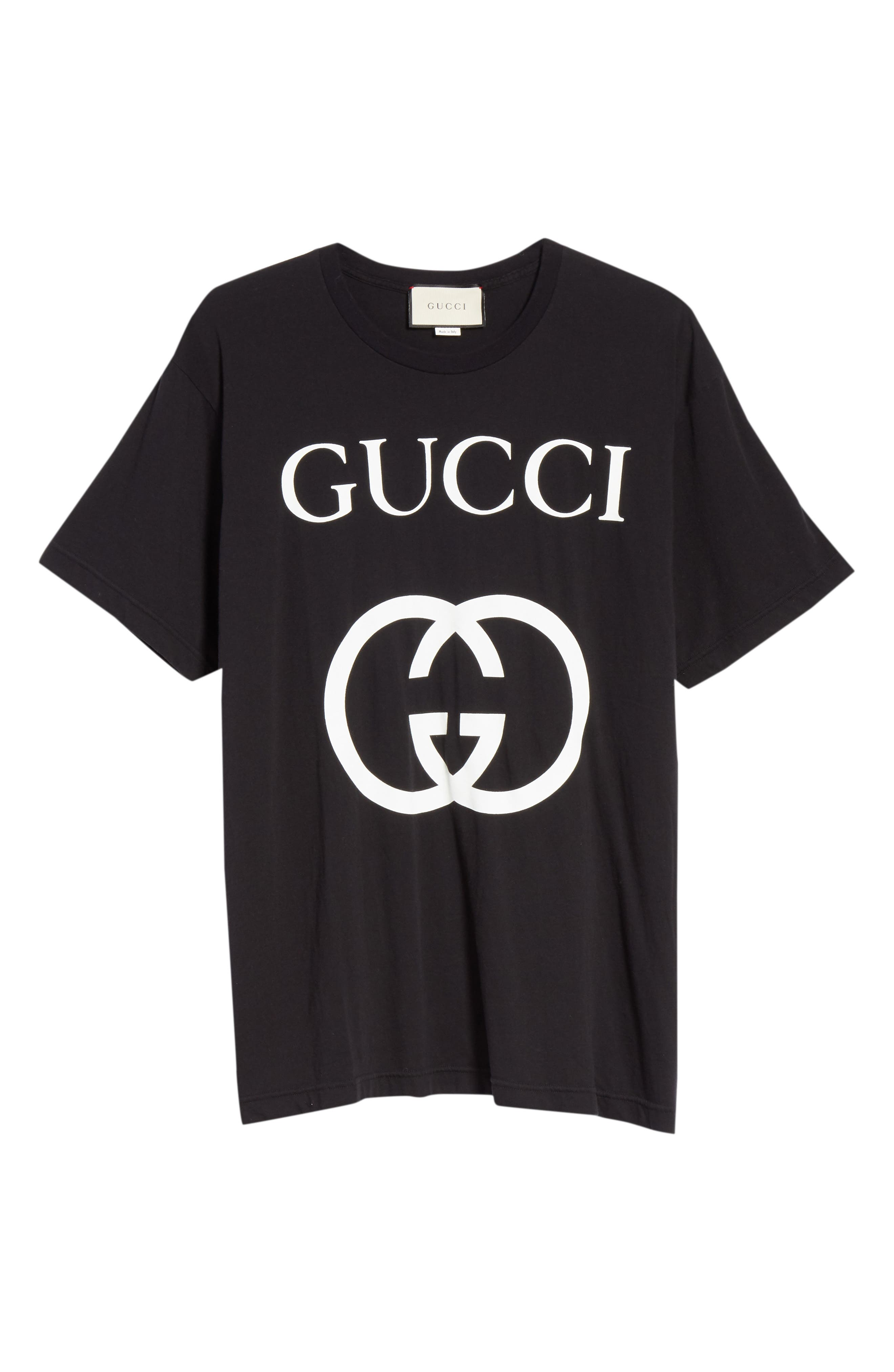 GUCCI, GG Interlock Tee, Alternate thumbnail 4, color, BLACK