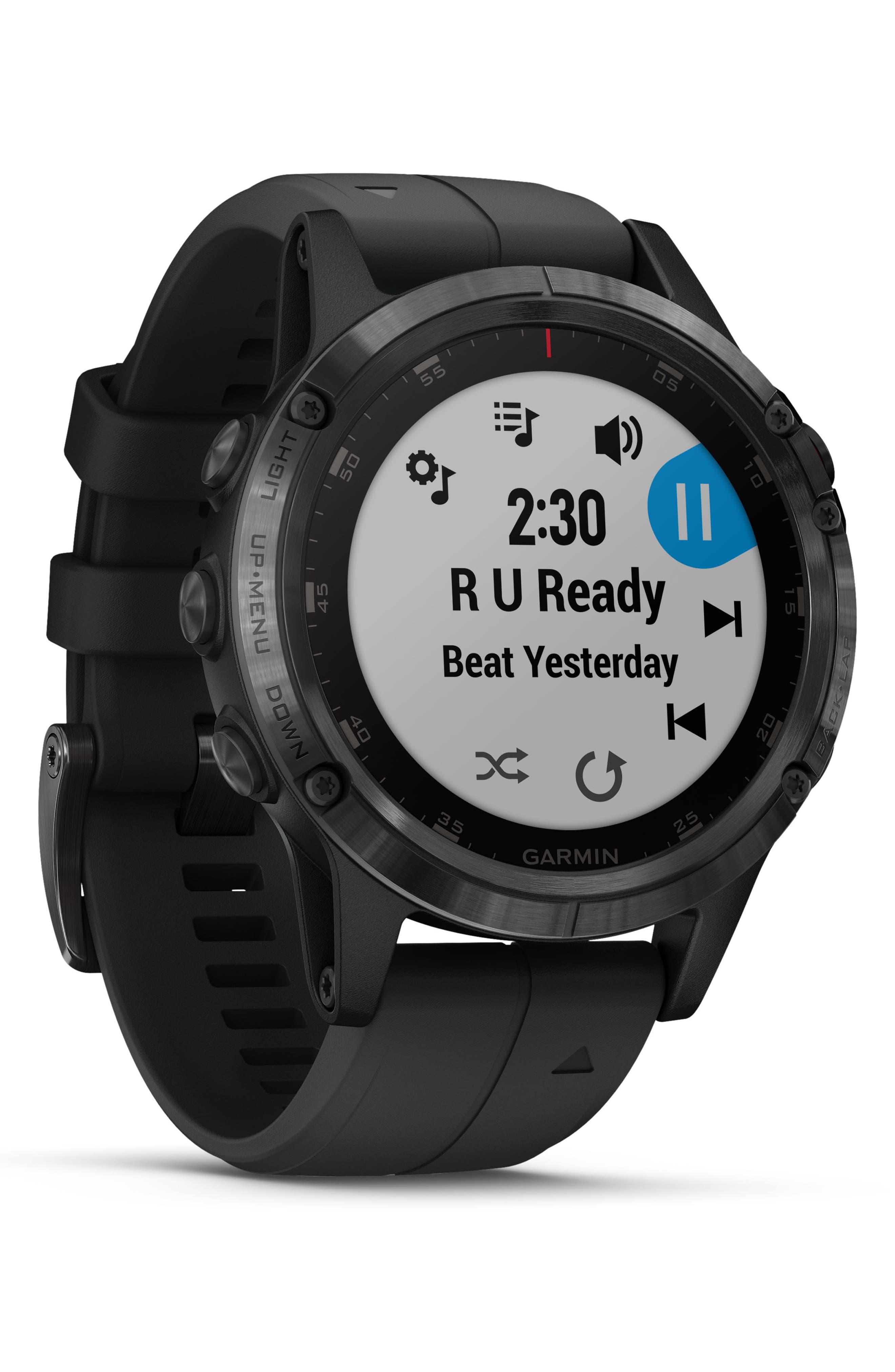 GARMIN, fenix<sup>®</sup> 5 Plus Sapphire Premium Multisport GPS Watch, 47mm, Alternate thumbnail 6, color, BLACK