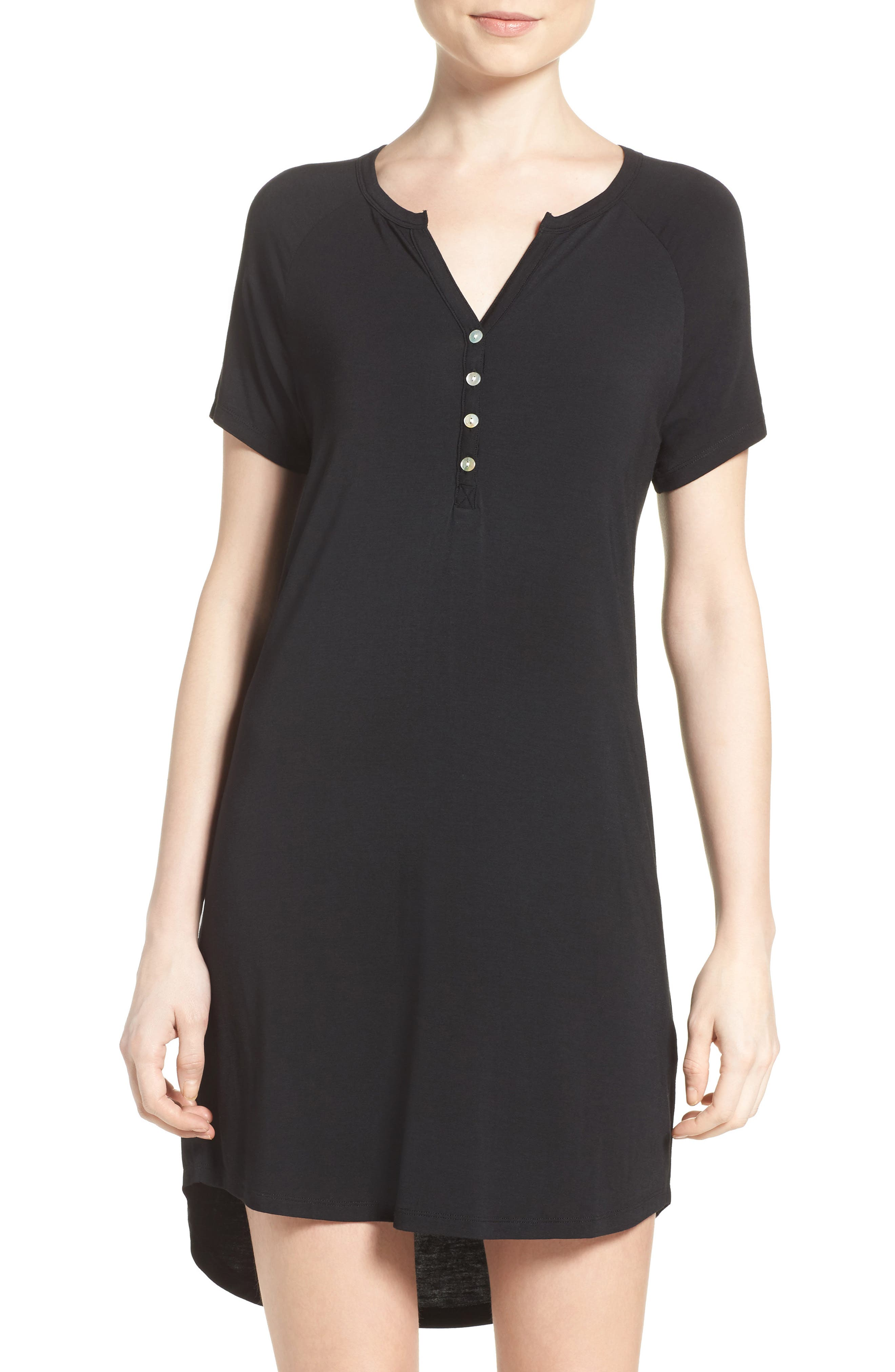 PJ SALVAGE Sleep Shirt, Main, color, BLACK