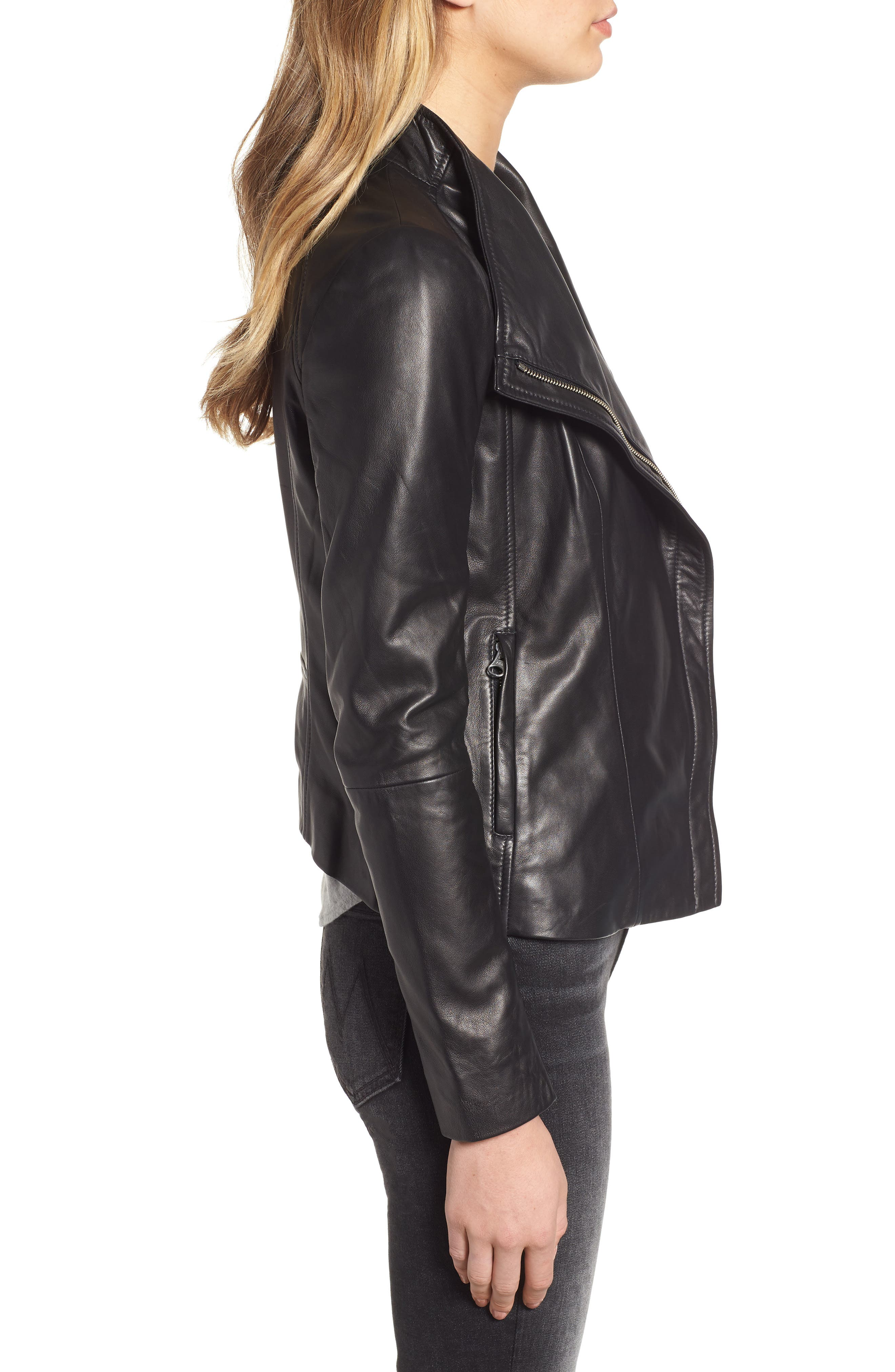 CHELSEA28, Leather Moto Jacket, Alternate thumbnail 4, color, BLACK
