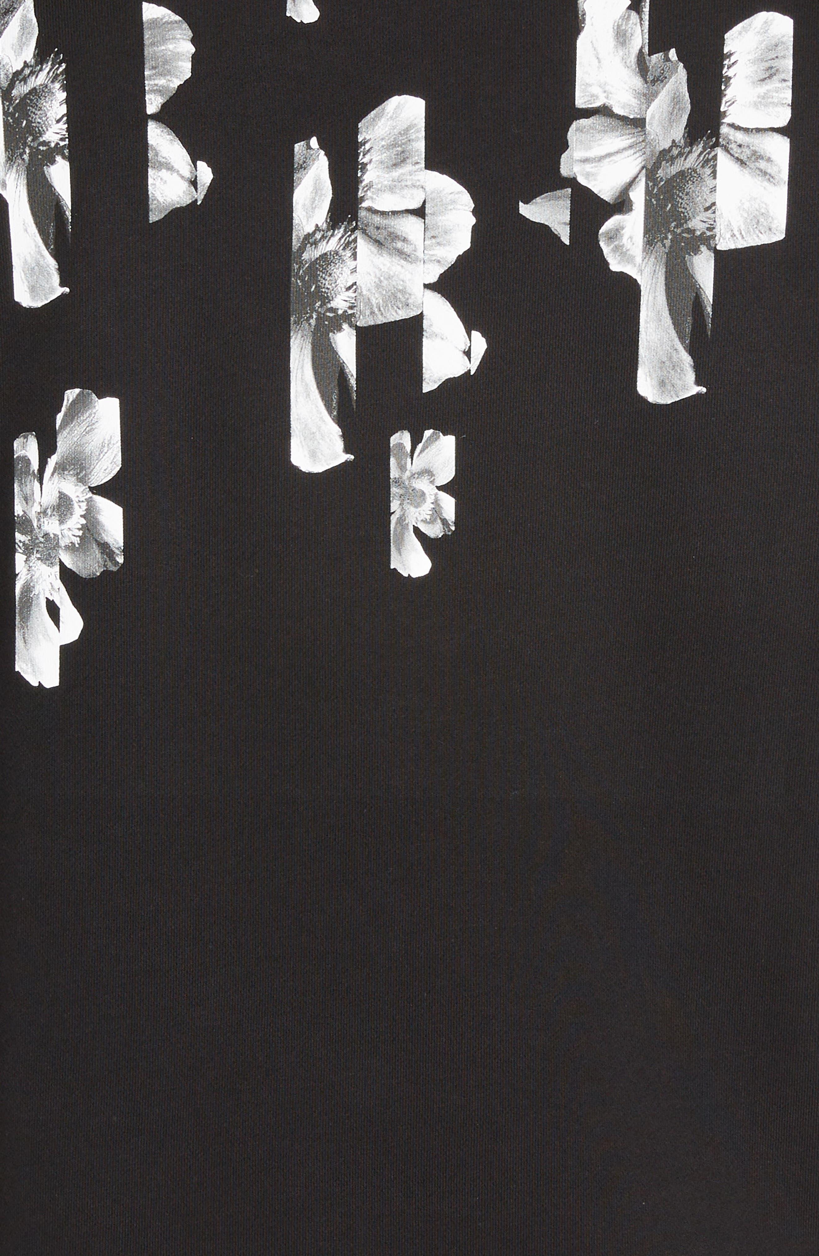 NEIL BARRETT, Abstract Flower Print Sweatshirt, Alternate thumbnail 5, color, BLACK/ WHITE