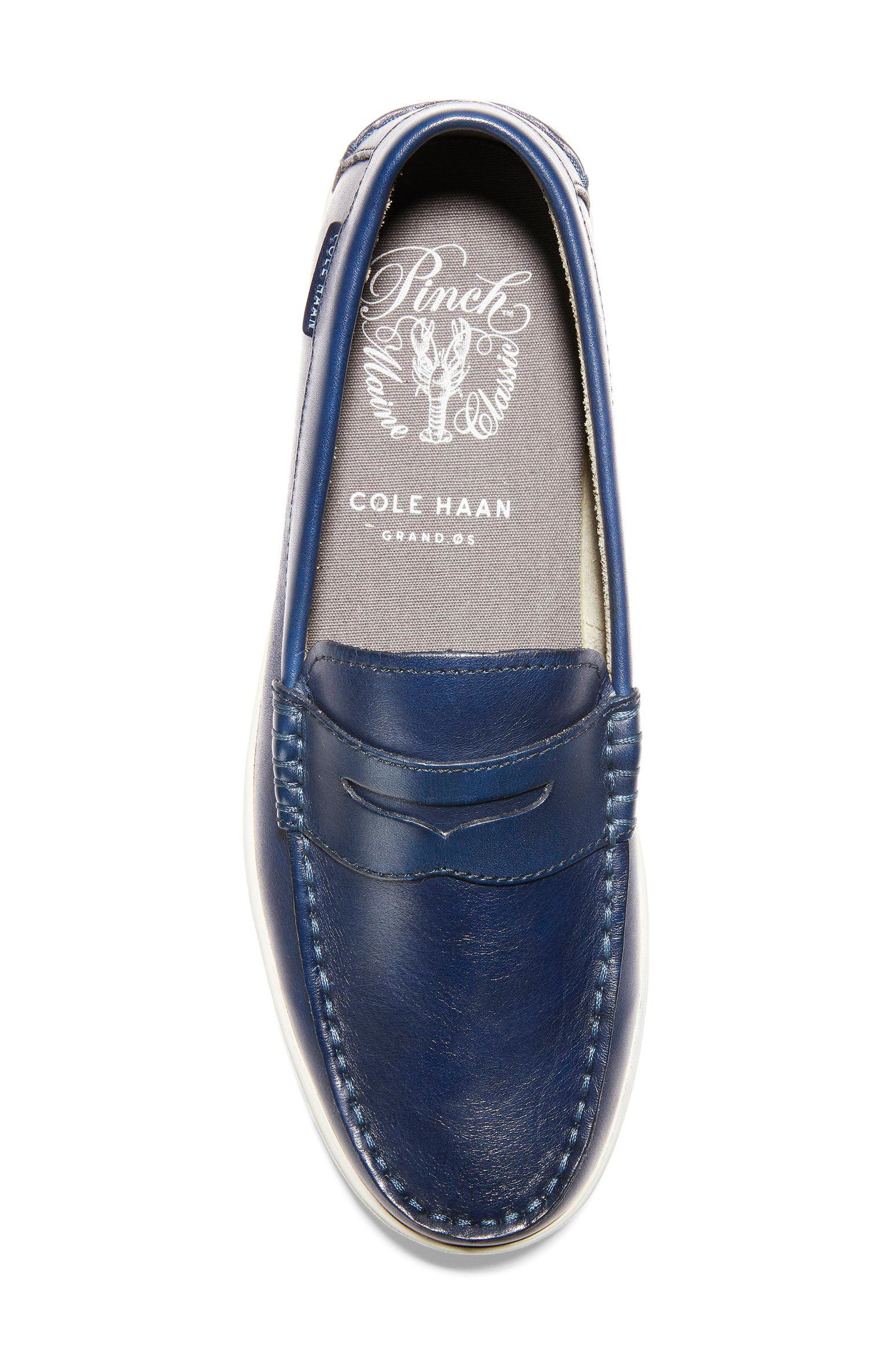 COLE HAAN, Pinch Penny Loafer, Alternate thumbnail 5, color, BLAZER BLUE LEATHER