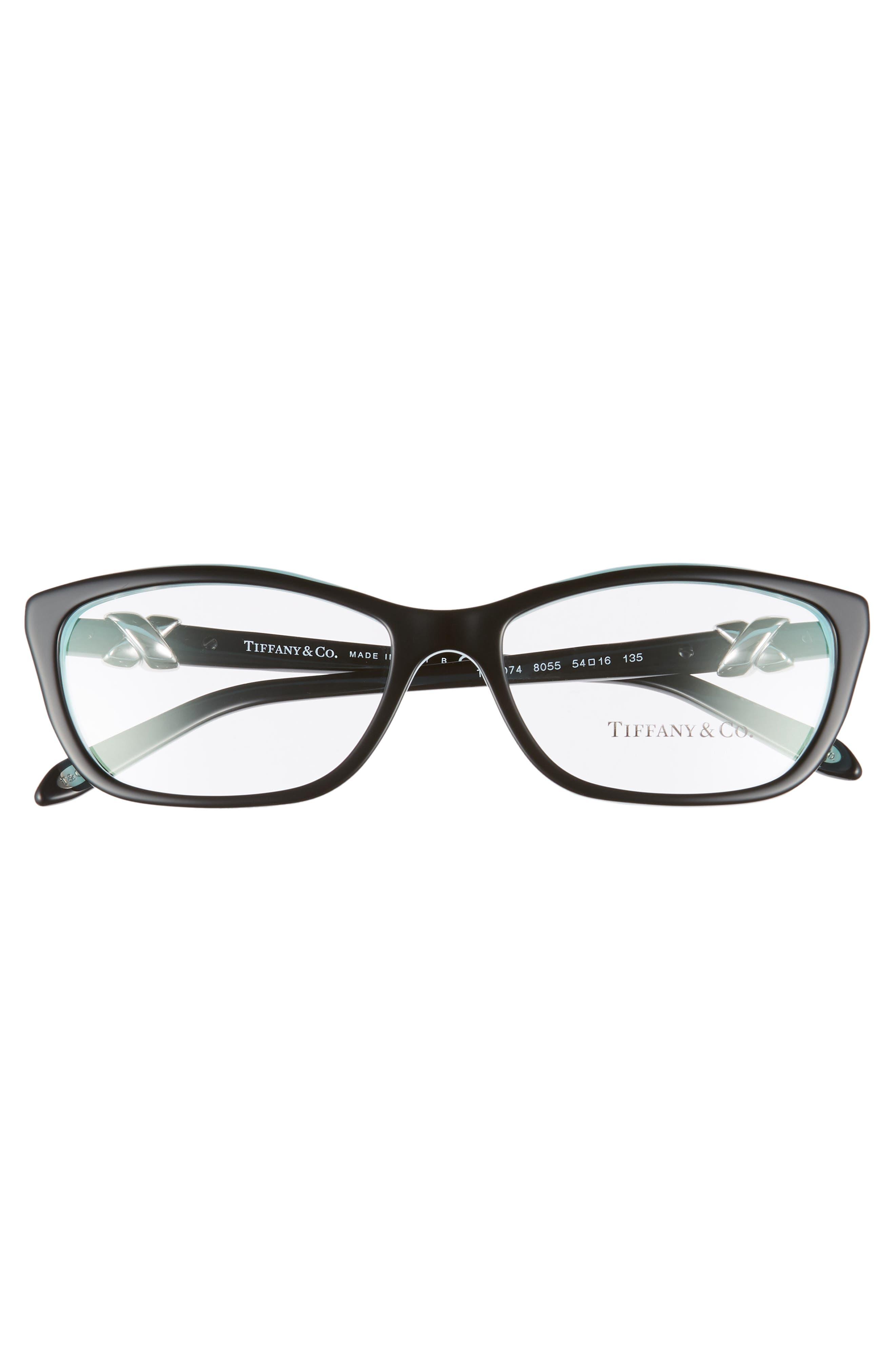 TIFFANY & CO., 54mm Cat Eye Optical Glasses, Alternate thumbnail 3, color, TOP BLACK/ BLUE