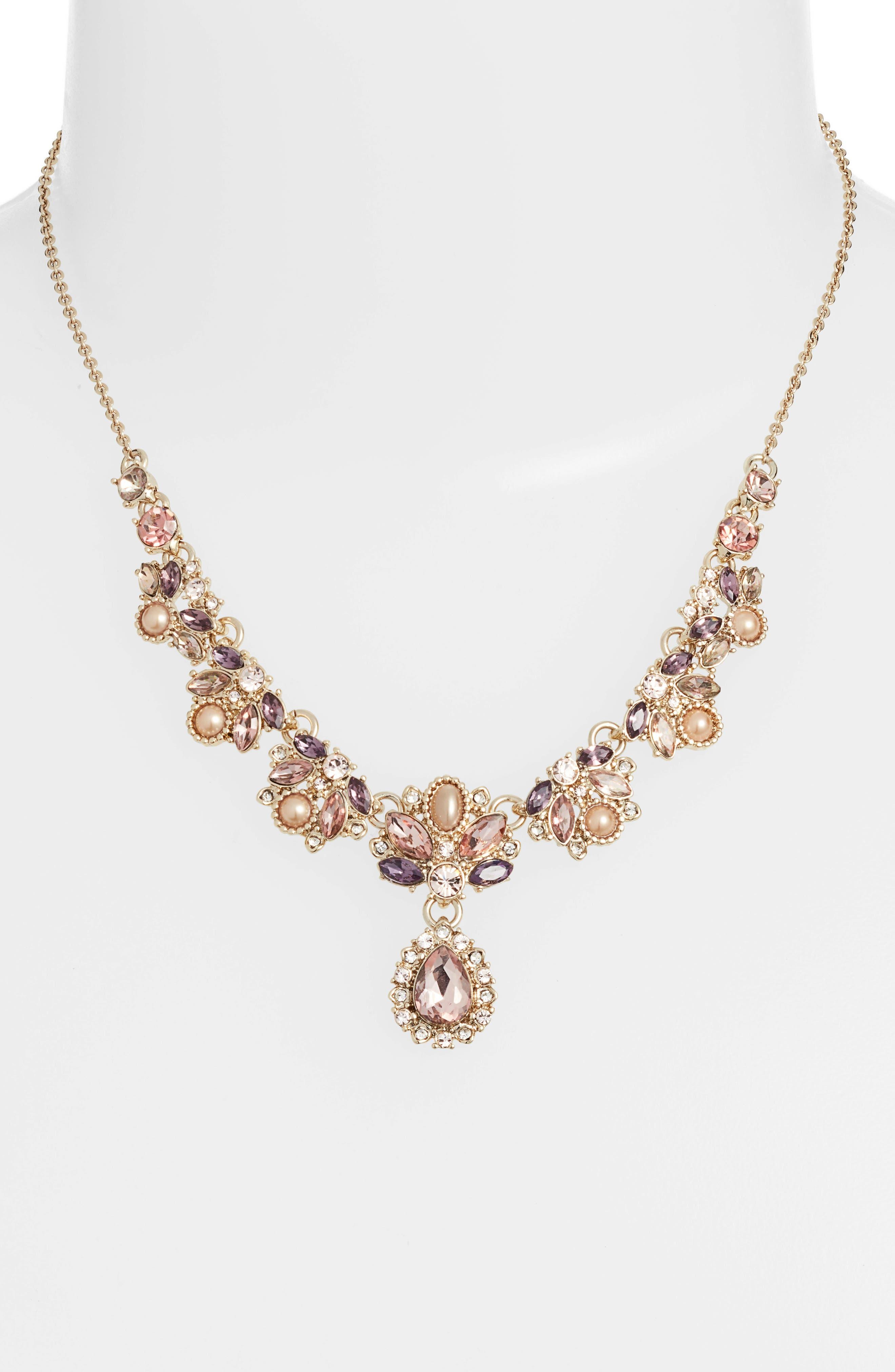 MARCHESA, Crystal & Imitation Pearl Necklace, Alternate thumbnail 2, color, GOLD/ BLUSH/ PURPLE