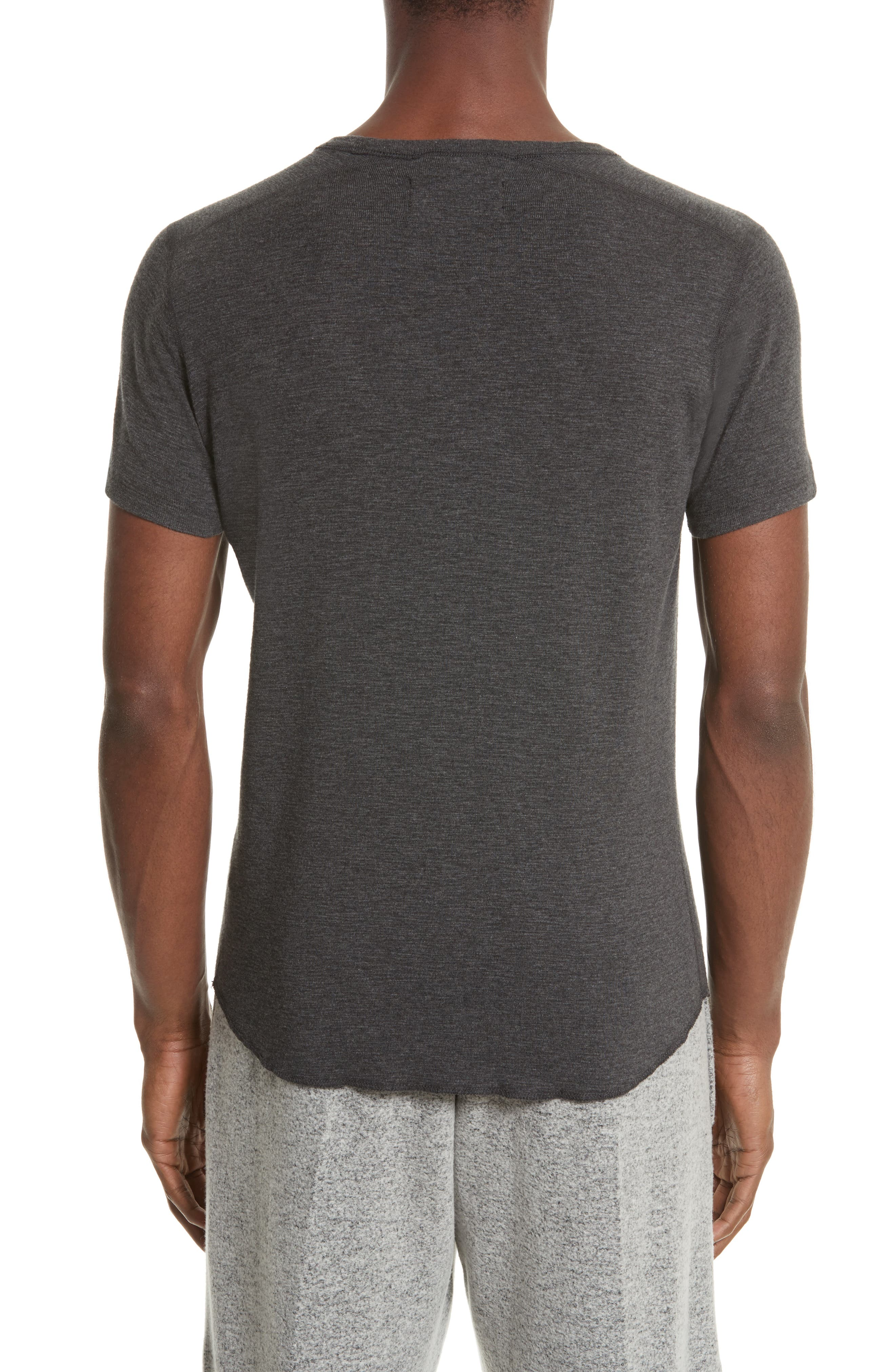 WINGS + HORNS, Ribbed Slub Cotton T-Shirt, Alternate thumbnail 2, color, HEATHER CHARCOAL