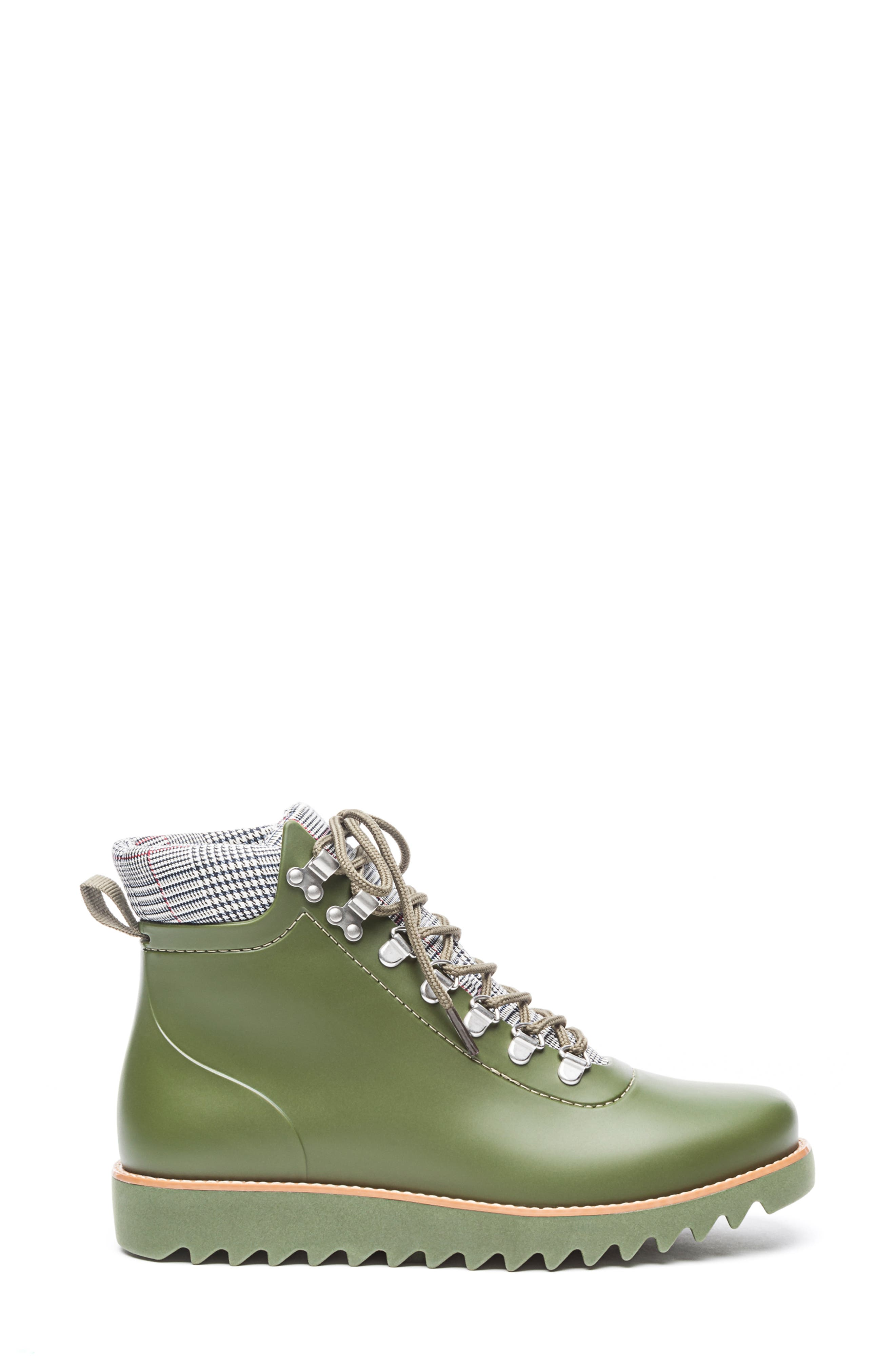 BERNARDO, Winnie Waterproof Rain Bootie, Alternate thumbnail 3, color, MILITARY GREEN