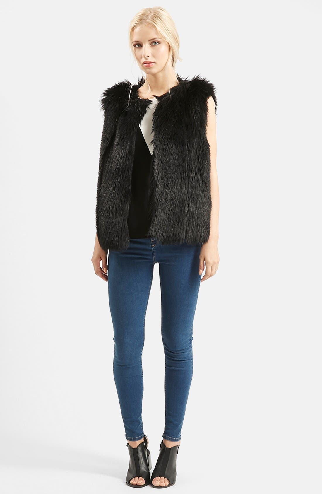 TOPSHOP, 'Leah' Faux Fur Vest, Alternate thumbnail 3, color, 001