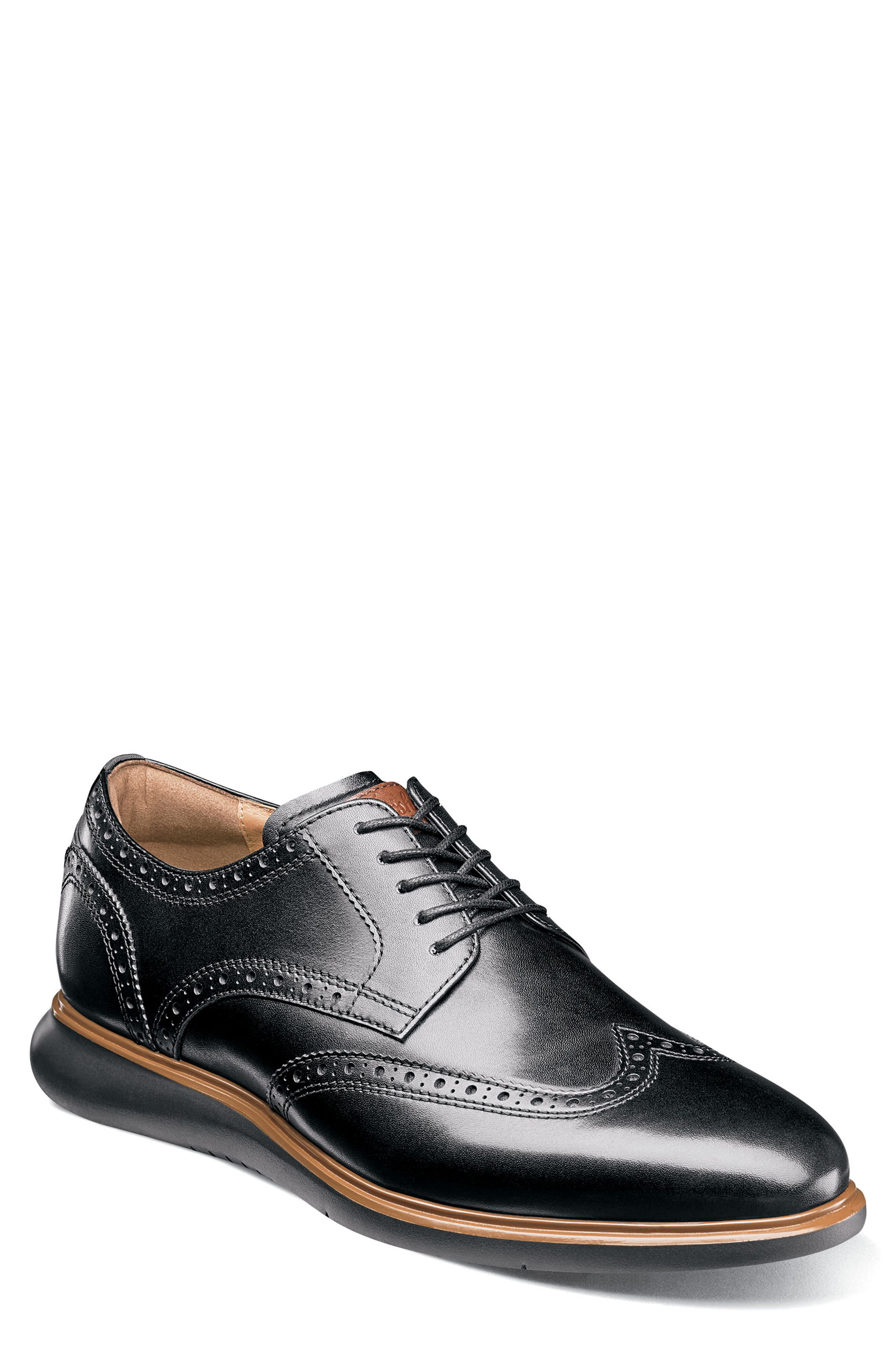 FLORSHEIM, Fuel Wingtip, Main thumbnail 1, color, BLACK LEATHER