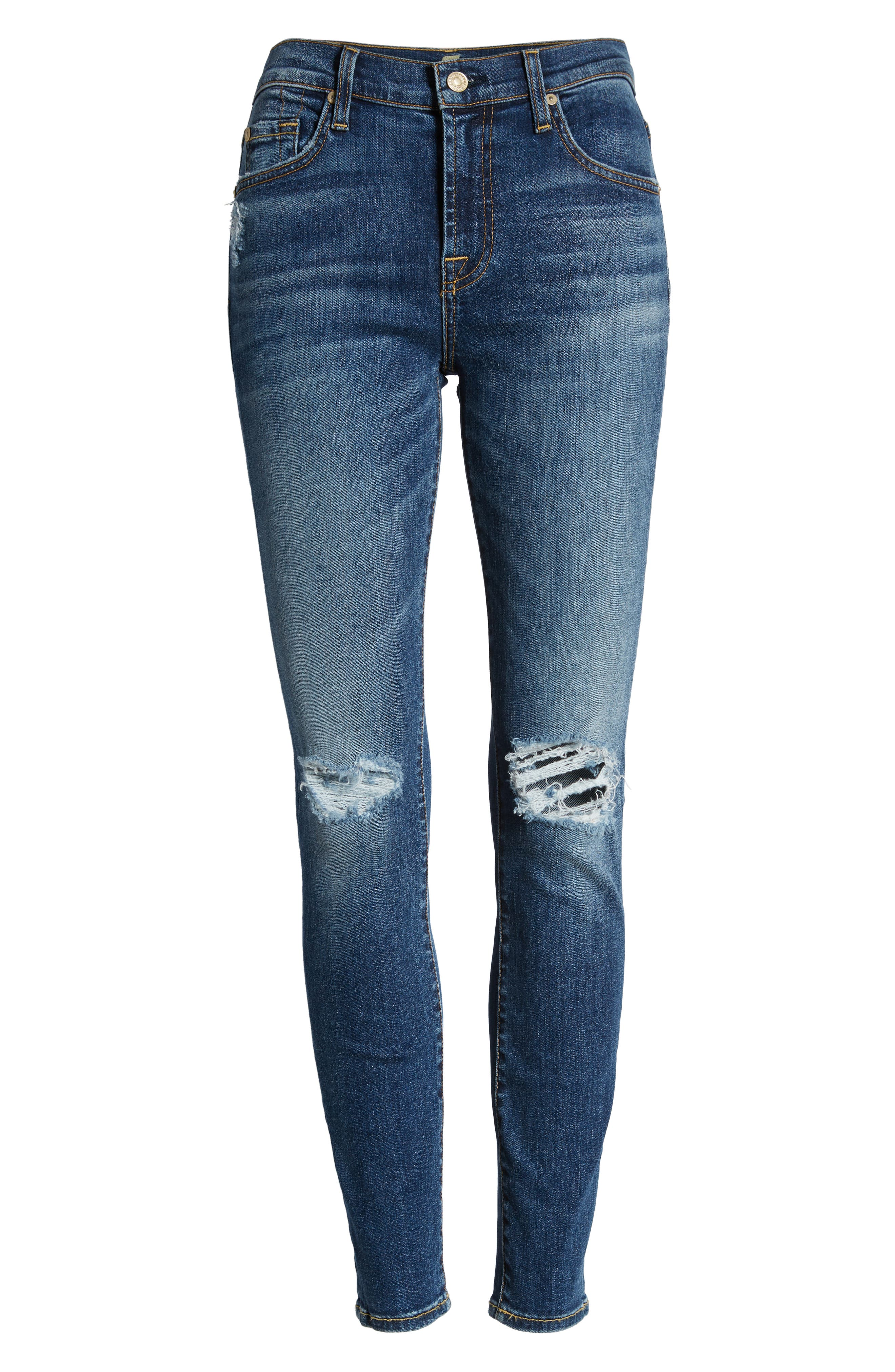 7 FOR ALL MANKIND<SUP>®</SUP>, Ankle Skinny Jeans, Alternate thumbnail 7, color, BLUE MONDAY