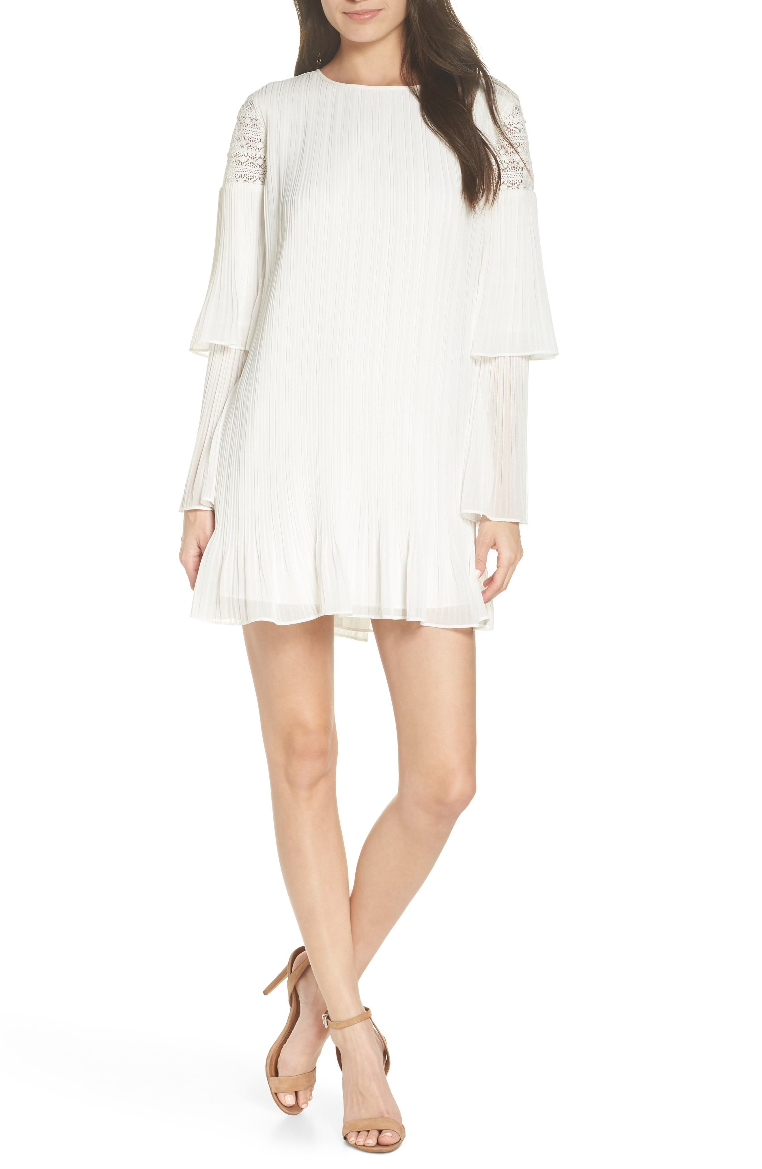 ALI & JAY Waterlily Pleated Minidress, Main, color, WHITE