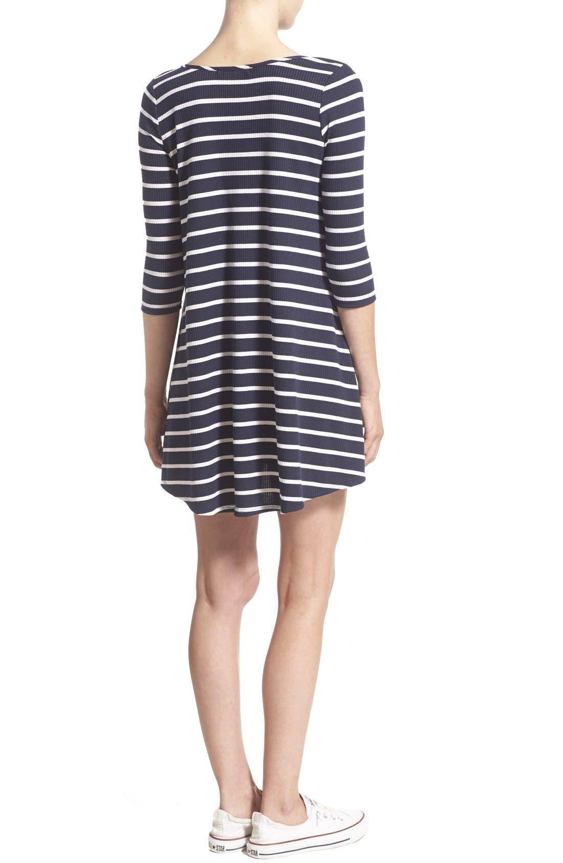 SOCIALITE, Stripe Lace-Up Minidress, Alternate thumbnail 4, color, 466