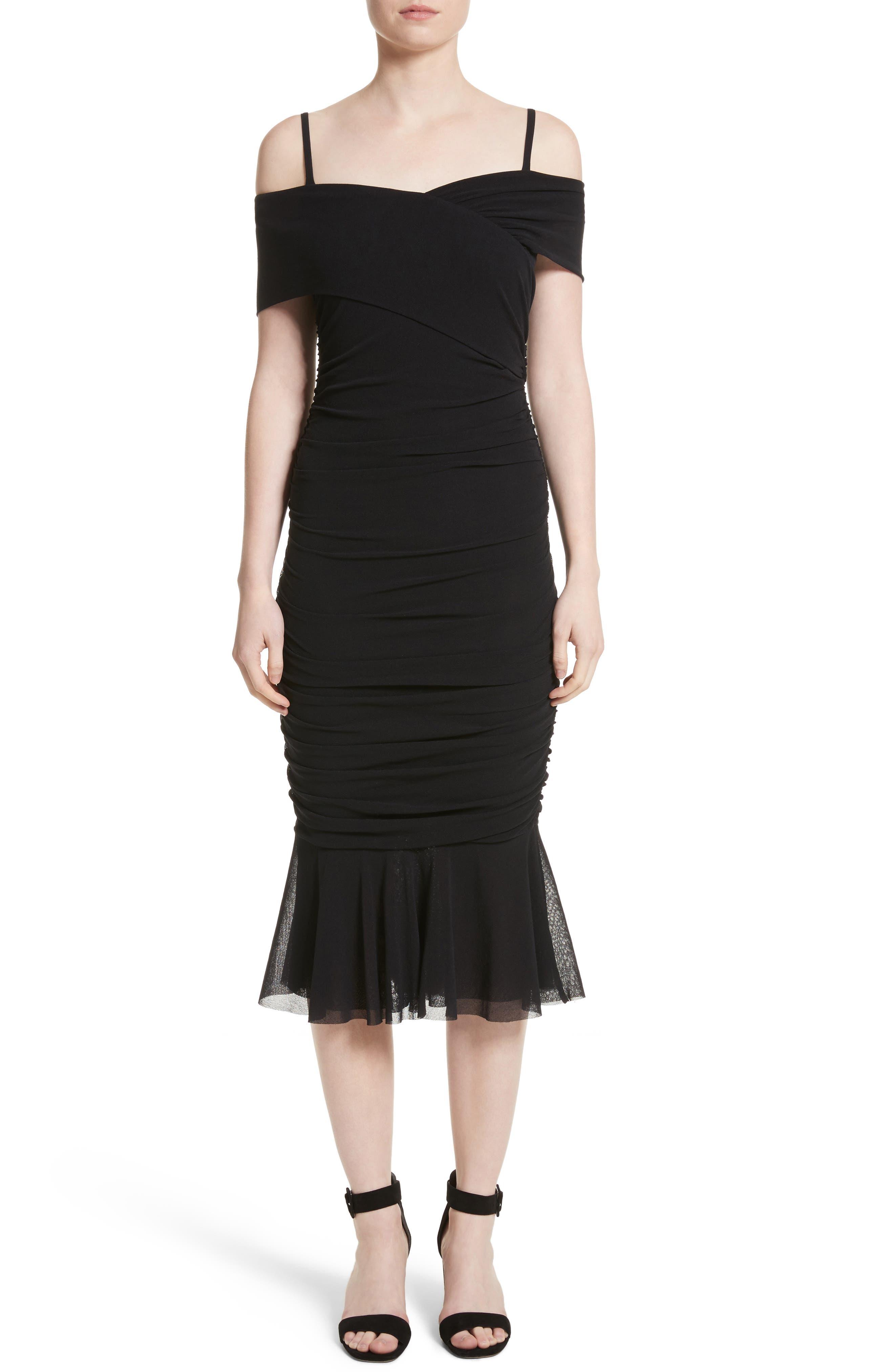 Fuzzi Ruched Tulle Cold Shoulder Dress, Black