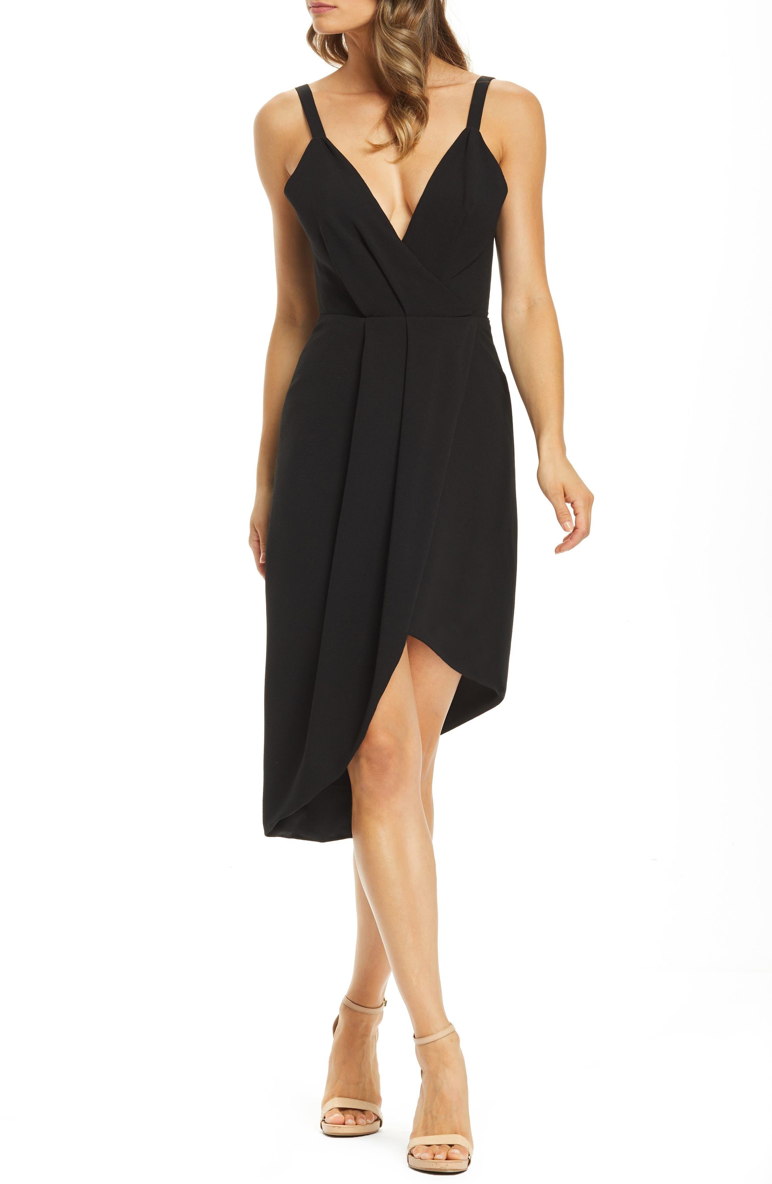 Dress The Population Owen Plunge Neck Faux Wrap Dress, Black