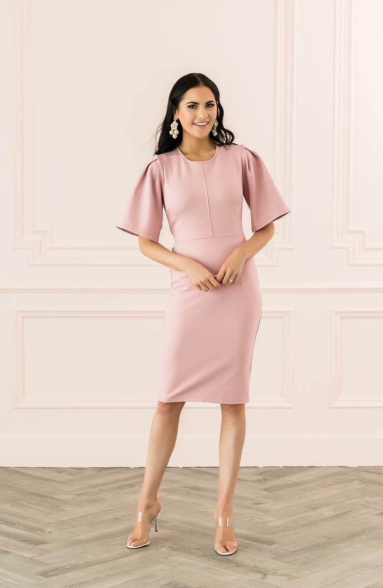 Rachel Parcell Flutter Sleeve Ponte Dress (Nordstrom Exclusive) | Nordstrom