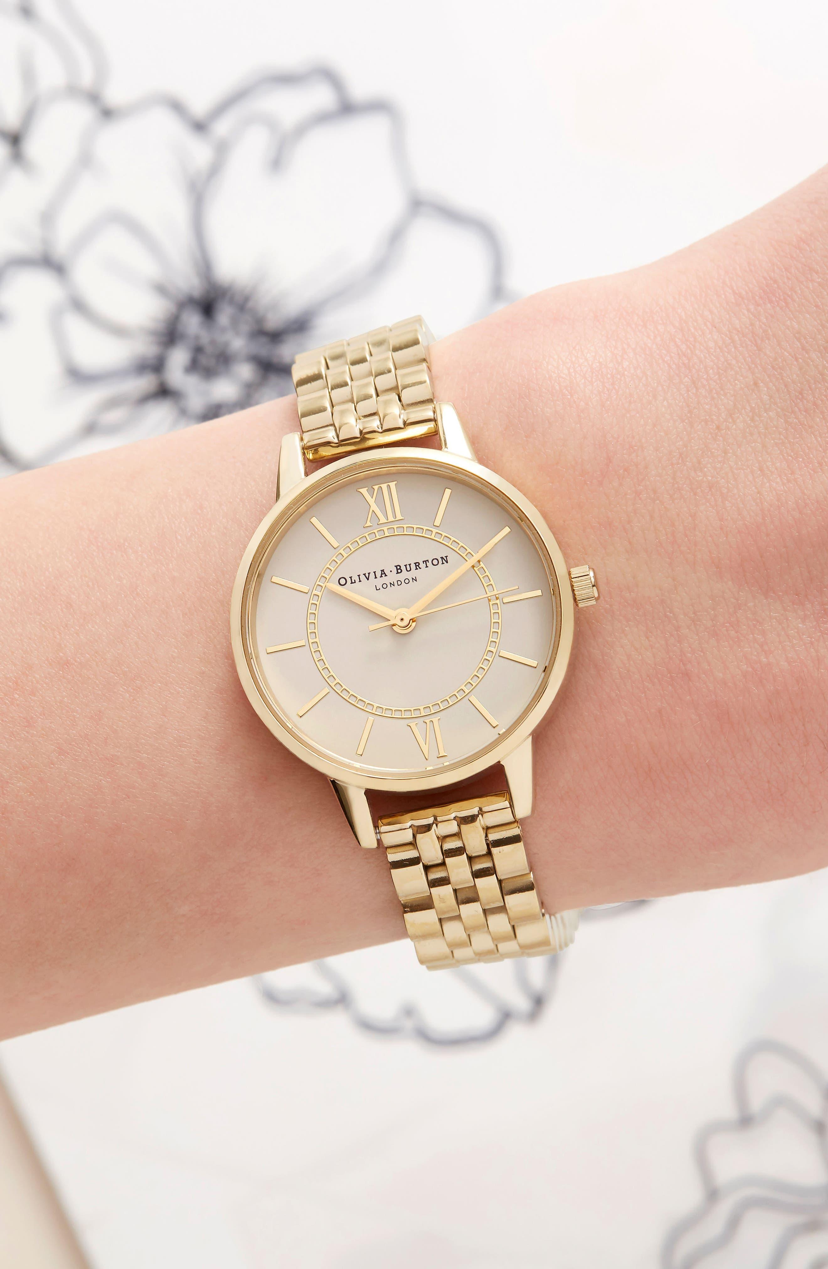 OLIVIA BURTON, Wonderland Bracelet Watch, 30mm, Alternate thumbnail 2, color, GOLD/ NUDE/ GOLD