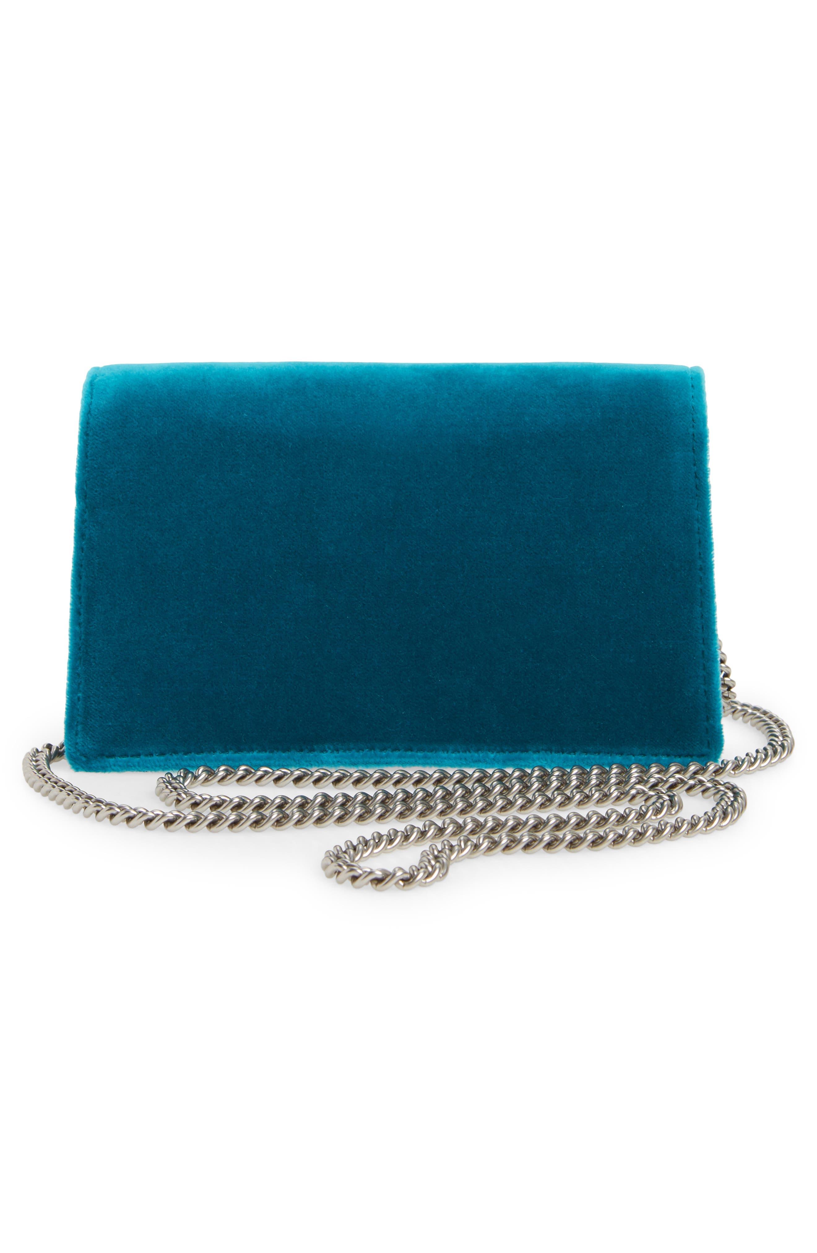 GUCCI, Super Mini Dionysus Velvet Shoulder Bag, Alternate thumbnail 3, color, PIVONE