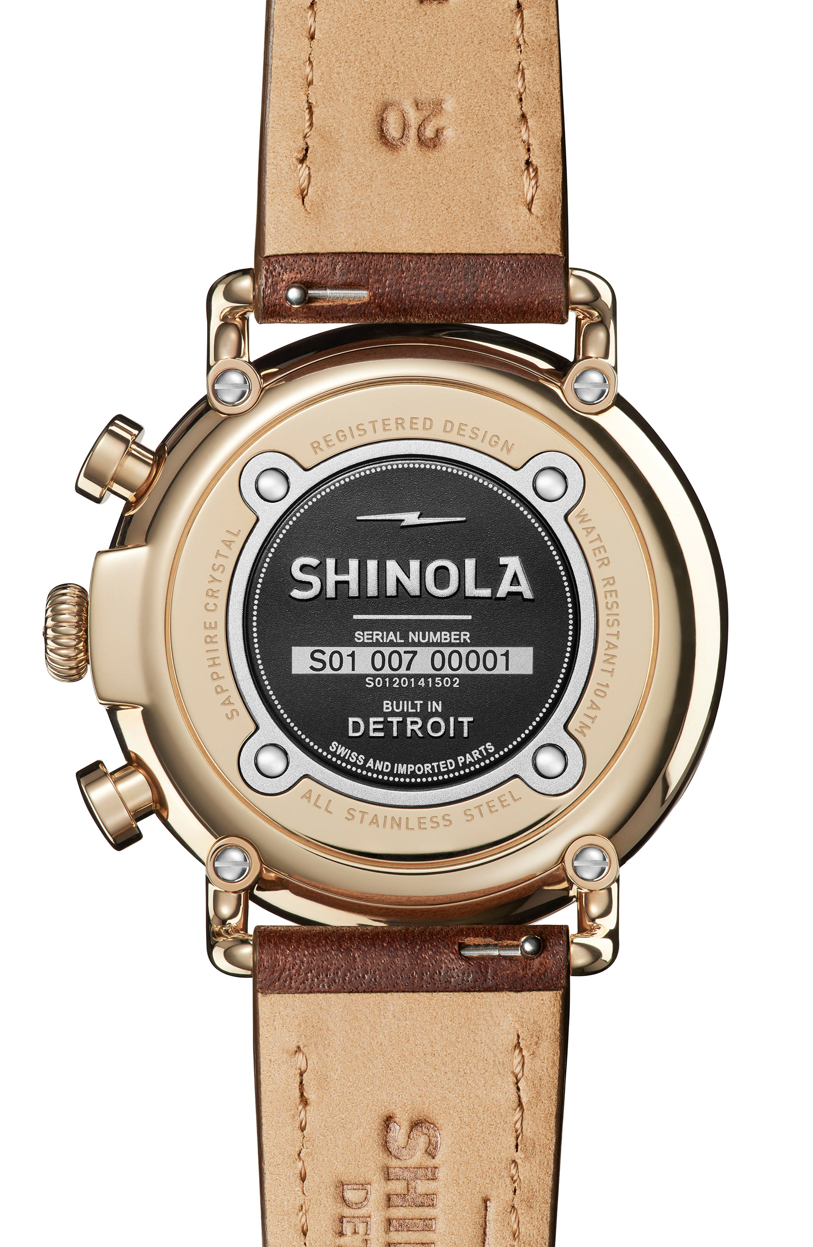 SHINOLA, 'The Runwell Chrono' Leather Strap Watch, 41mm, Alternate thumbnail 3, color, BROWN CATTAIL/ IVORY/ GOLD