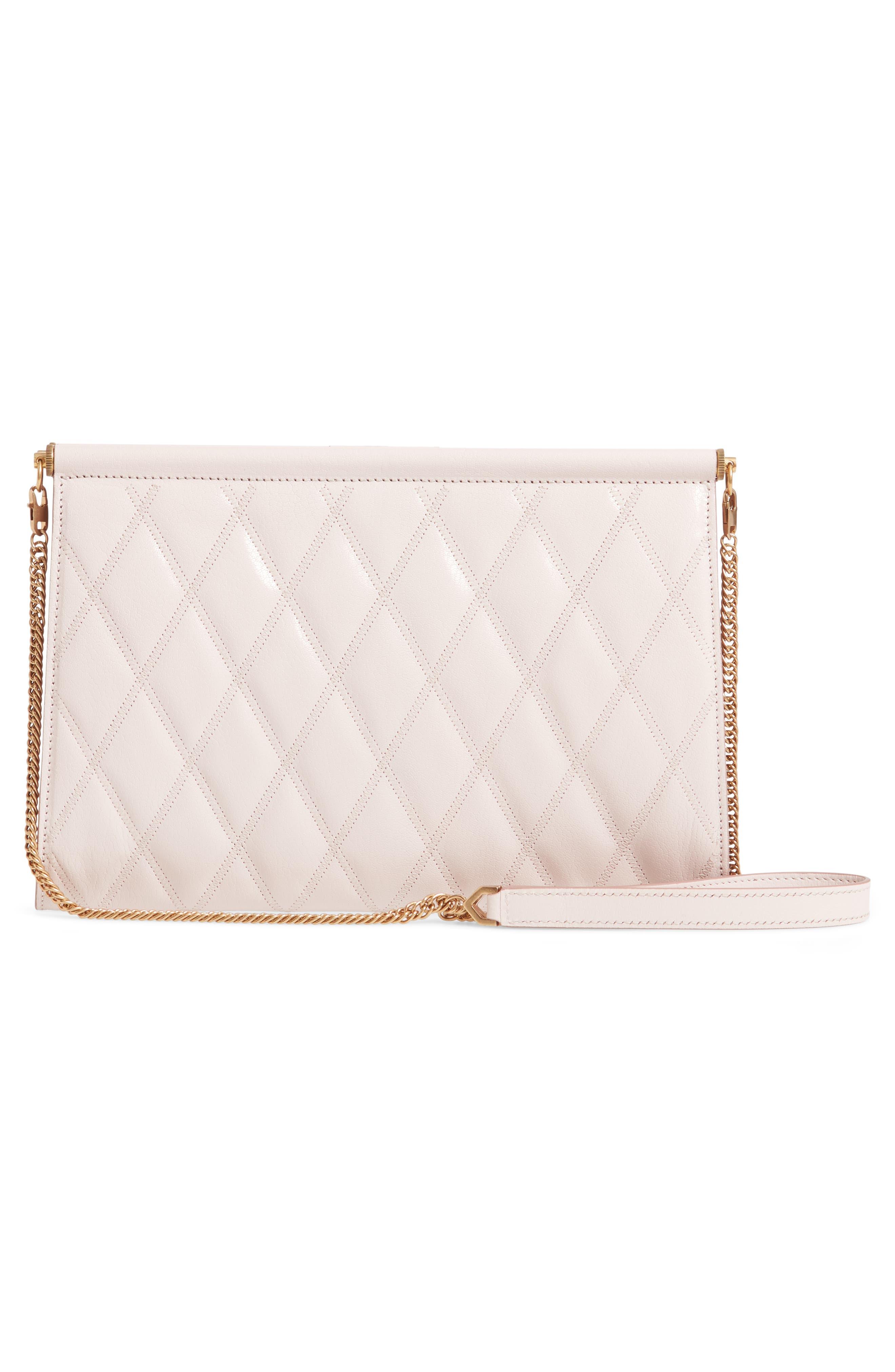 GIVENCHY, Gem Quilted Leather Frame Shoulder Bag, Alternate thumbnail 3, color, PALE PINK