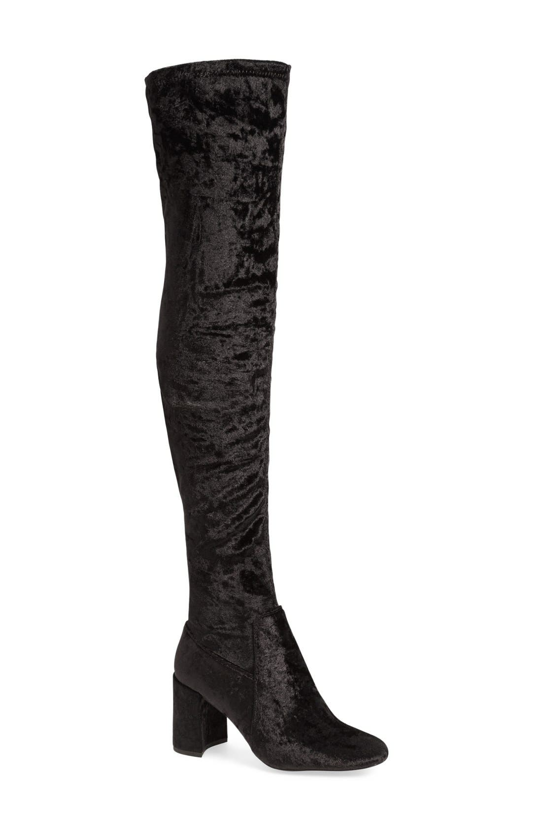 JEFFREY CAMPBELL, 'Cienega' Over the Knee Boot, Main thumbnail 1, color, 001