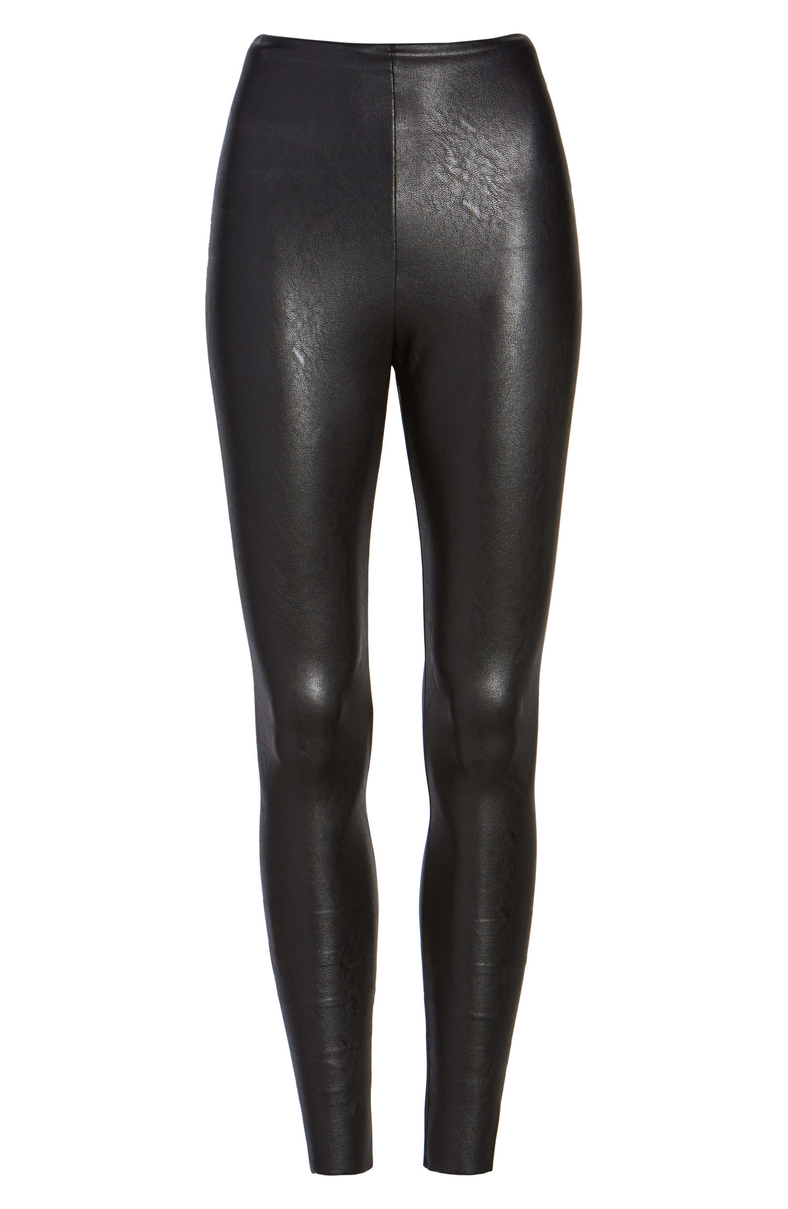COMMANDO, Perfect Control Faux Leather Leggings, Alternate thumbnail 7, color, BLACK