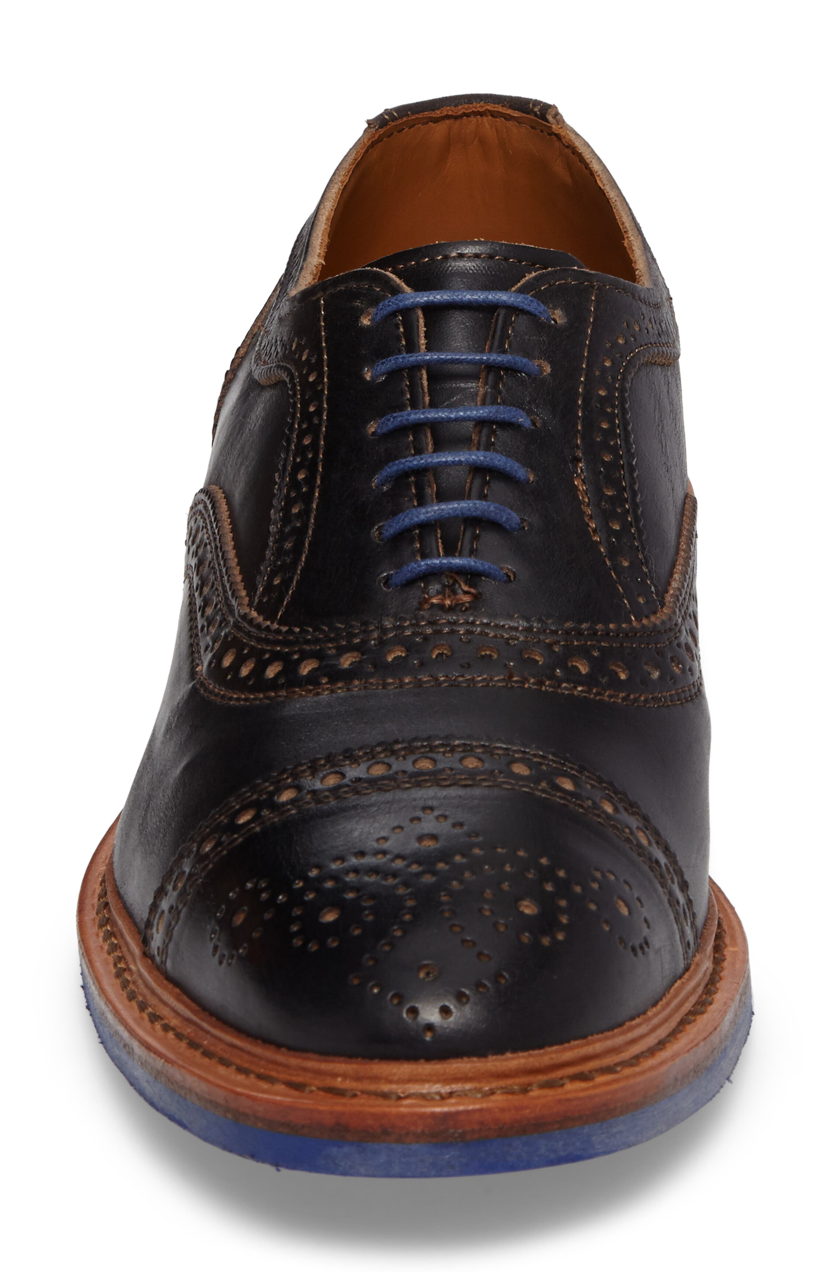ALLEN EDMONDS, 'Strandmok' Cap Toe Oxford, Alternate thumbnail 4, color, BLACK LEATHER