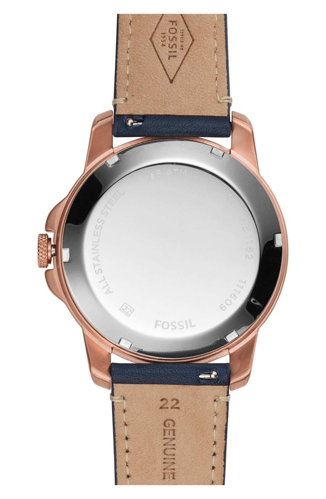 FOSSIL, 'Grant' Chronograph Leather Strap Watch, 44mm, Alternate thumbnail 2, color, NAVY/ ROSE GOLD