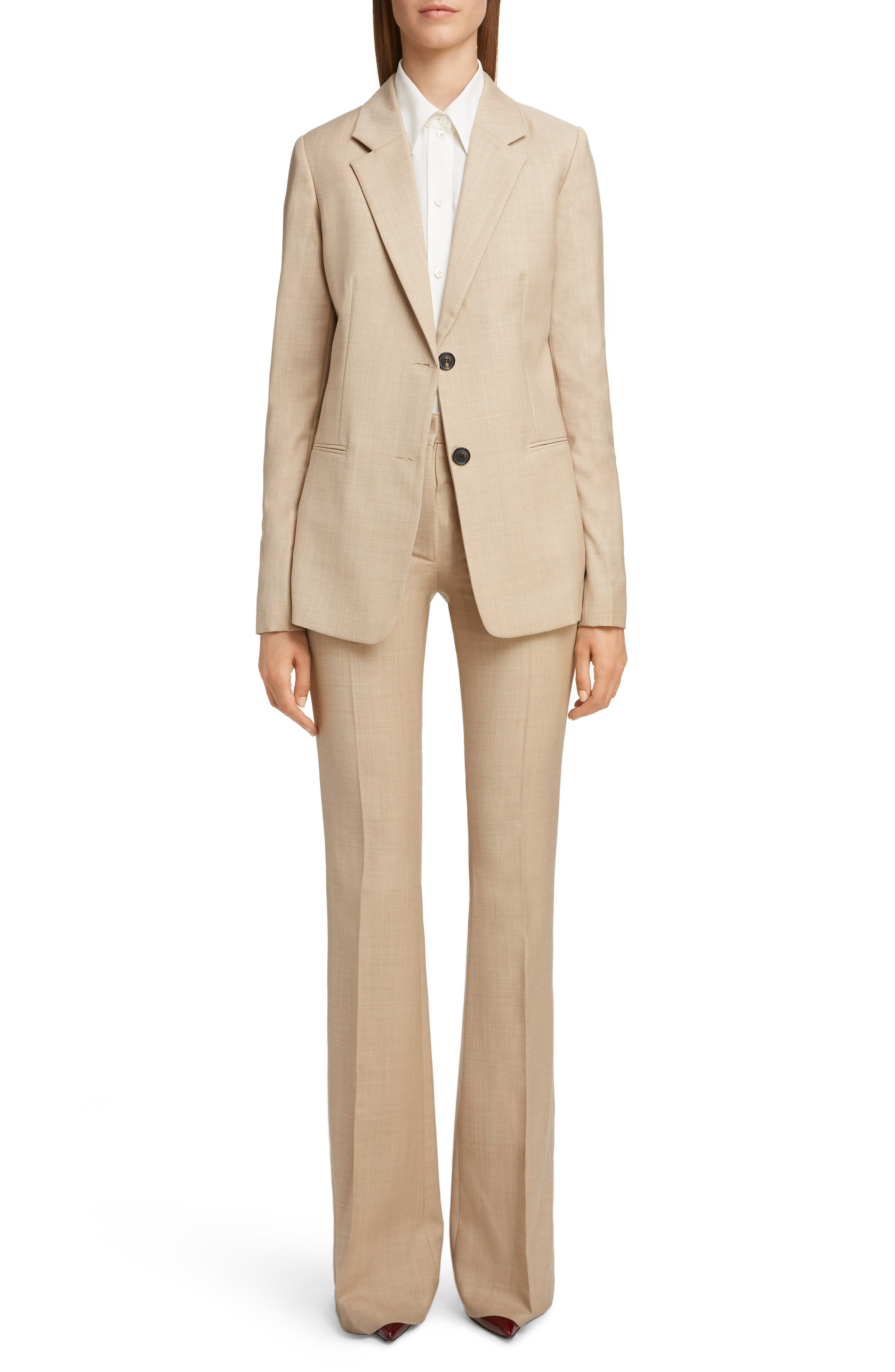 VICTORIA BECKHAM, High Waist Flare Wool Pants, Alternate thumbnail 6, color, LIGHT BEIGE-WHITE