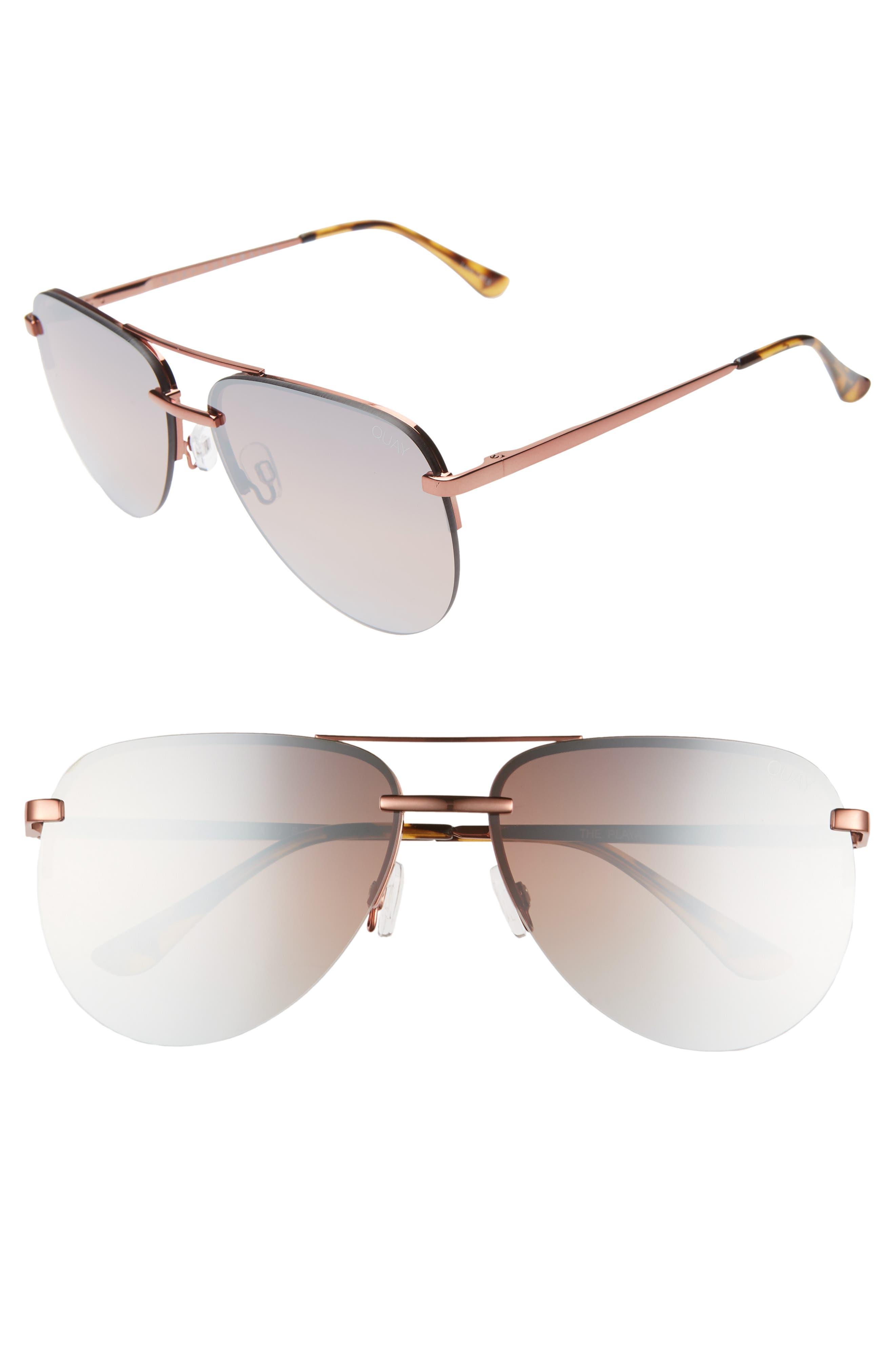 QUAY AUSTRALIA, x JLO The Playa 54mm Aviator Sunglasses, Main thumbnail 1, color, BRONZE/ BROWN