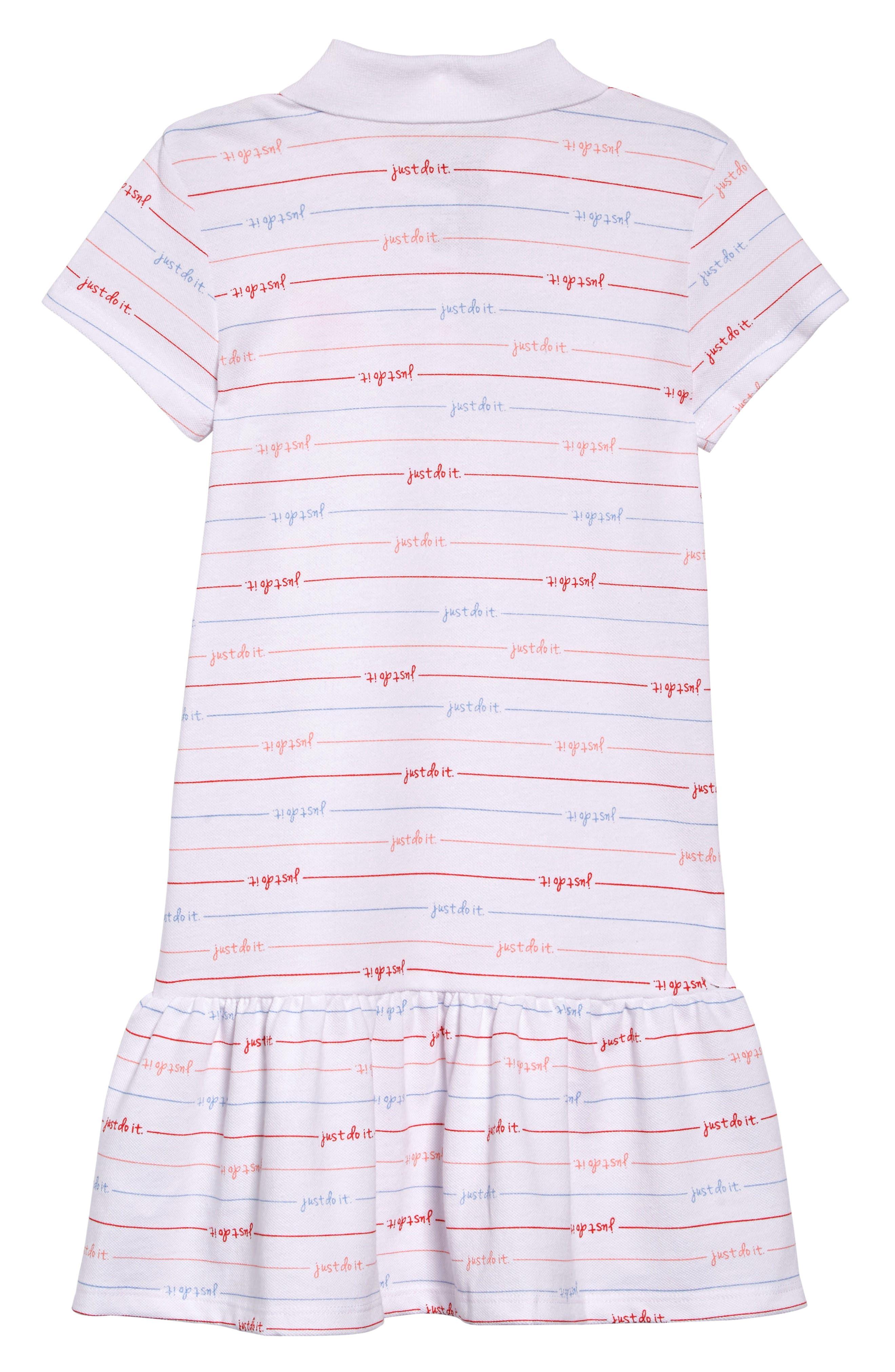 NIKE, Stripe Polo Dress, Alternate thumbnail 2, color, WHITE