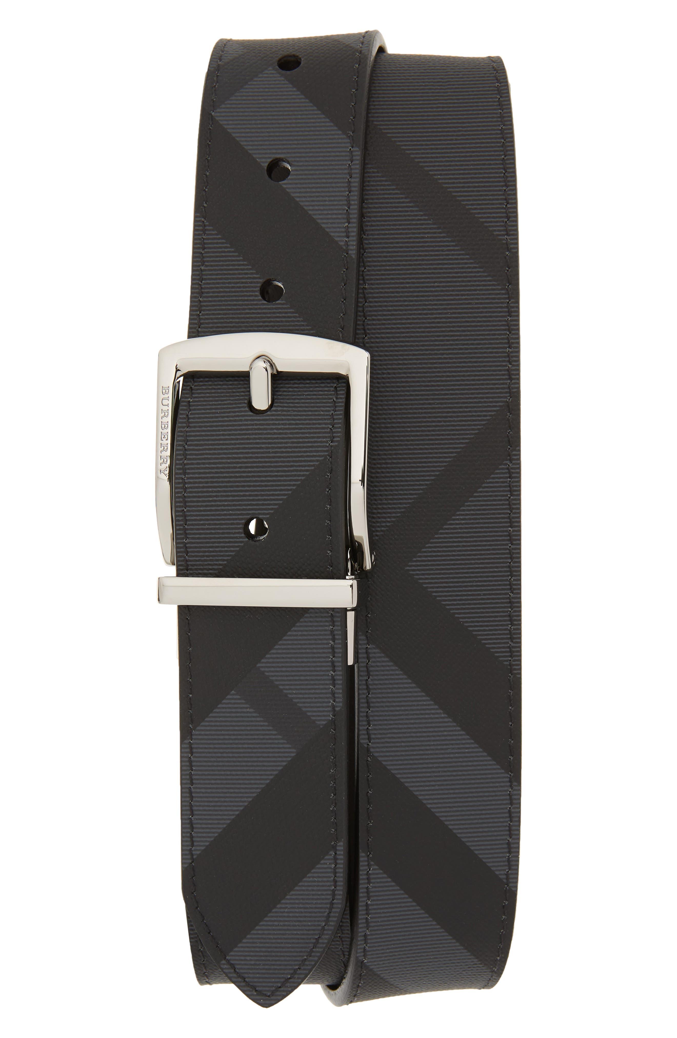 BURBERRY Clark Reversible Belt, Main, color, CHARCOAL/ BLACK