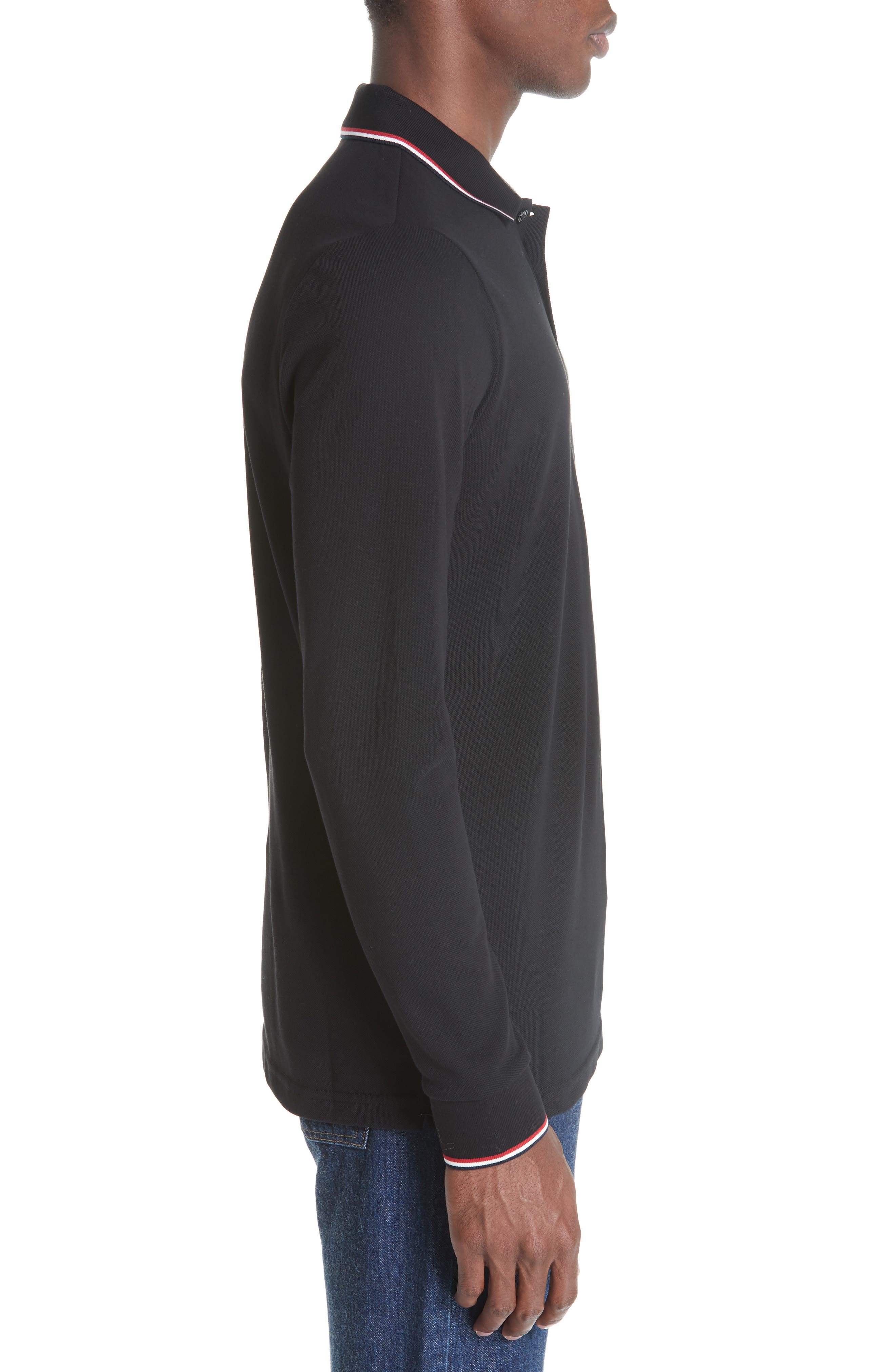 MONCLER, Maglia Long Sleeve Piqué Polo, Alternate thumbnail 3, color, BLACK