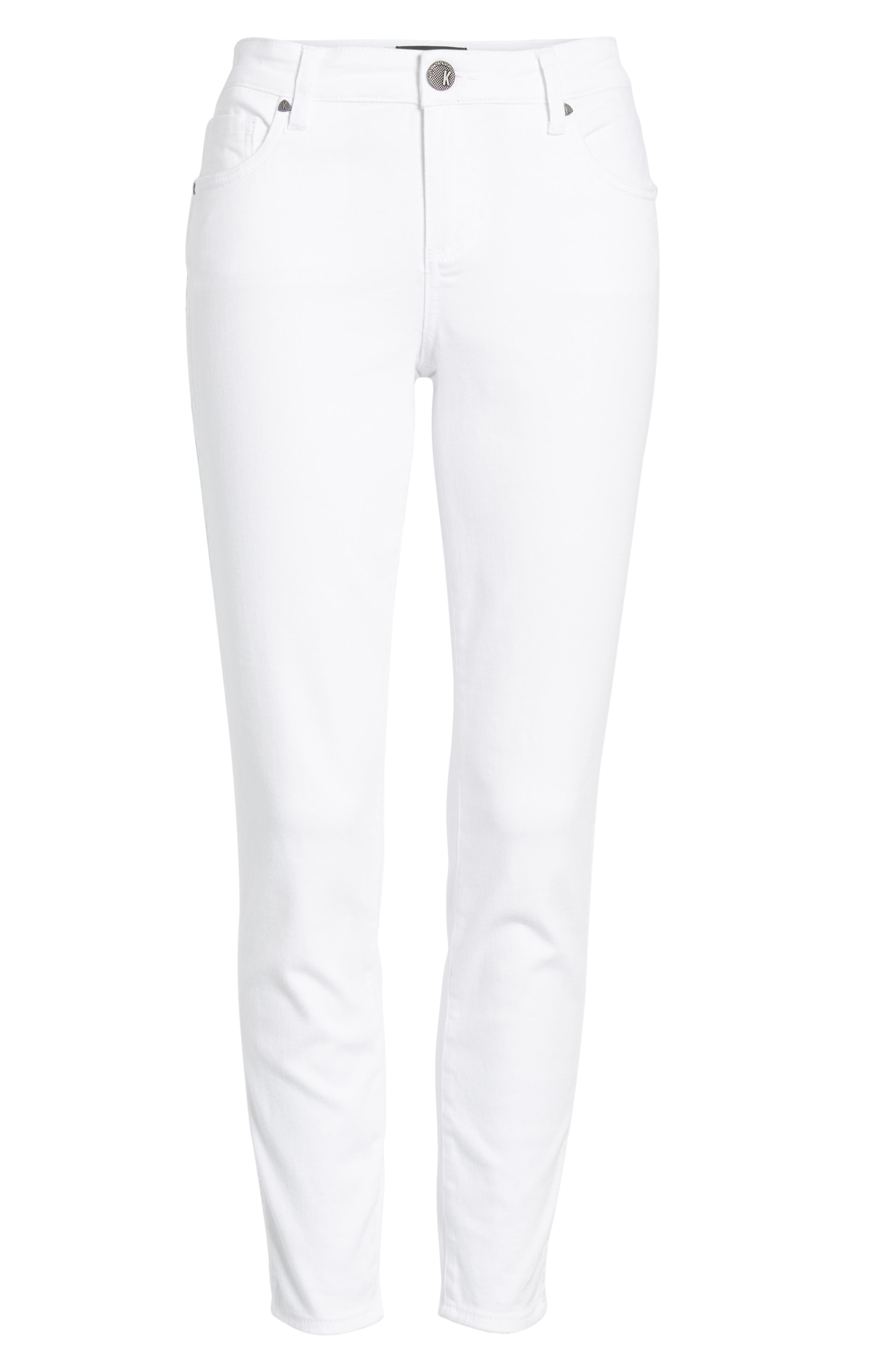 KUT FROM THE KLOTH, Donna Ankle Skinny Jeans, Alternate thumbnail 7, color, OPTIC WHITE