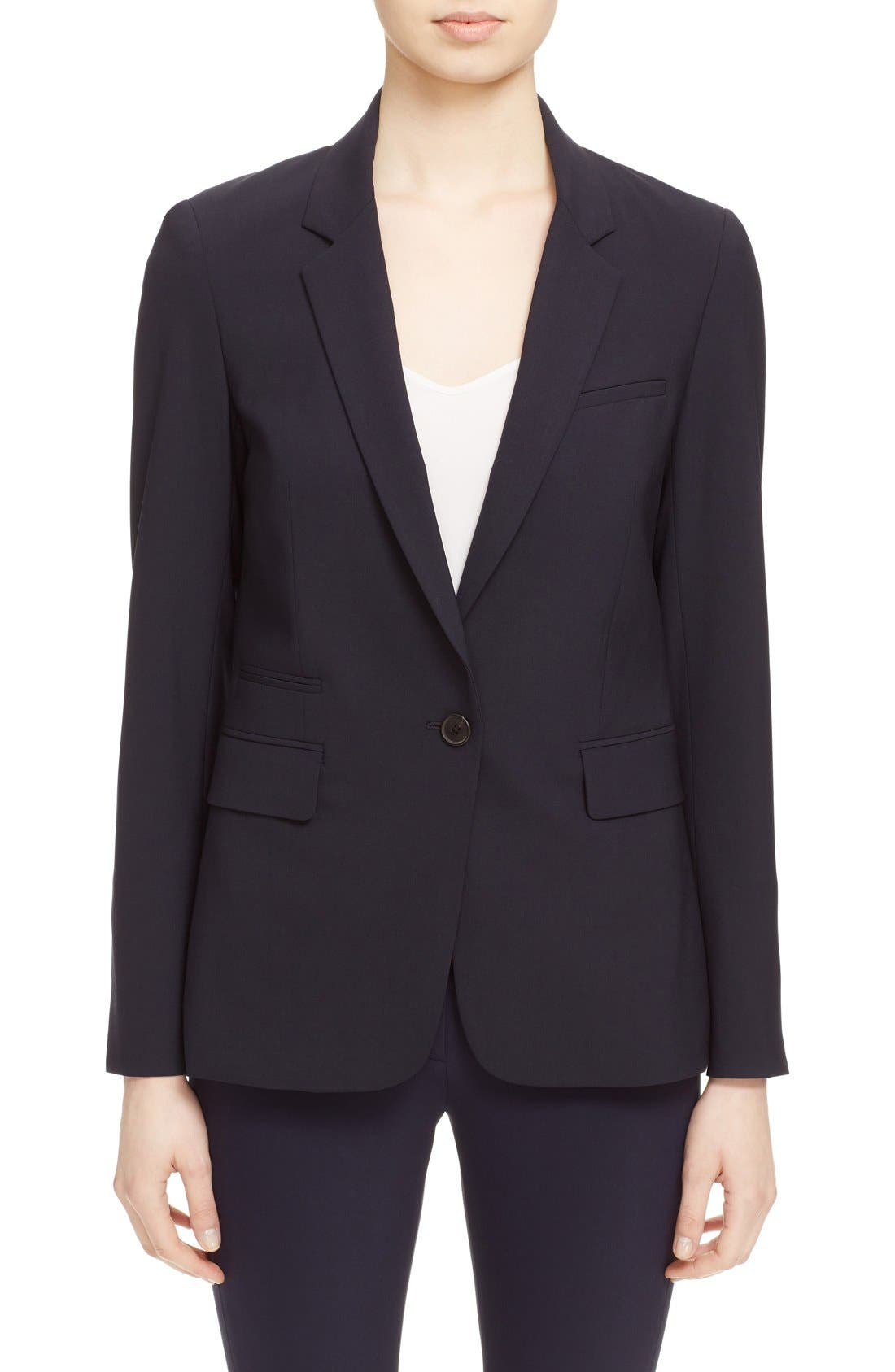 VERONICA BEARD, 'Classic' Lambswool Blend Single Button Blazer, Main thumbnail 1, color, NAVY